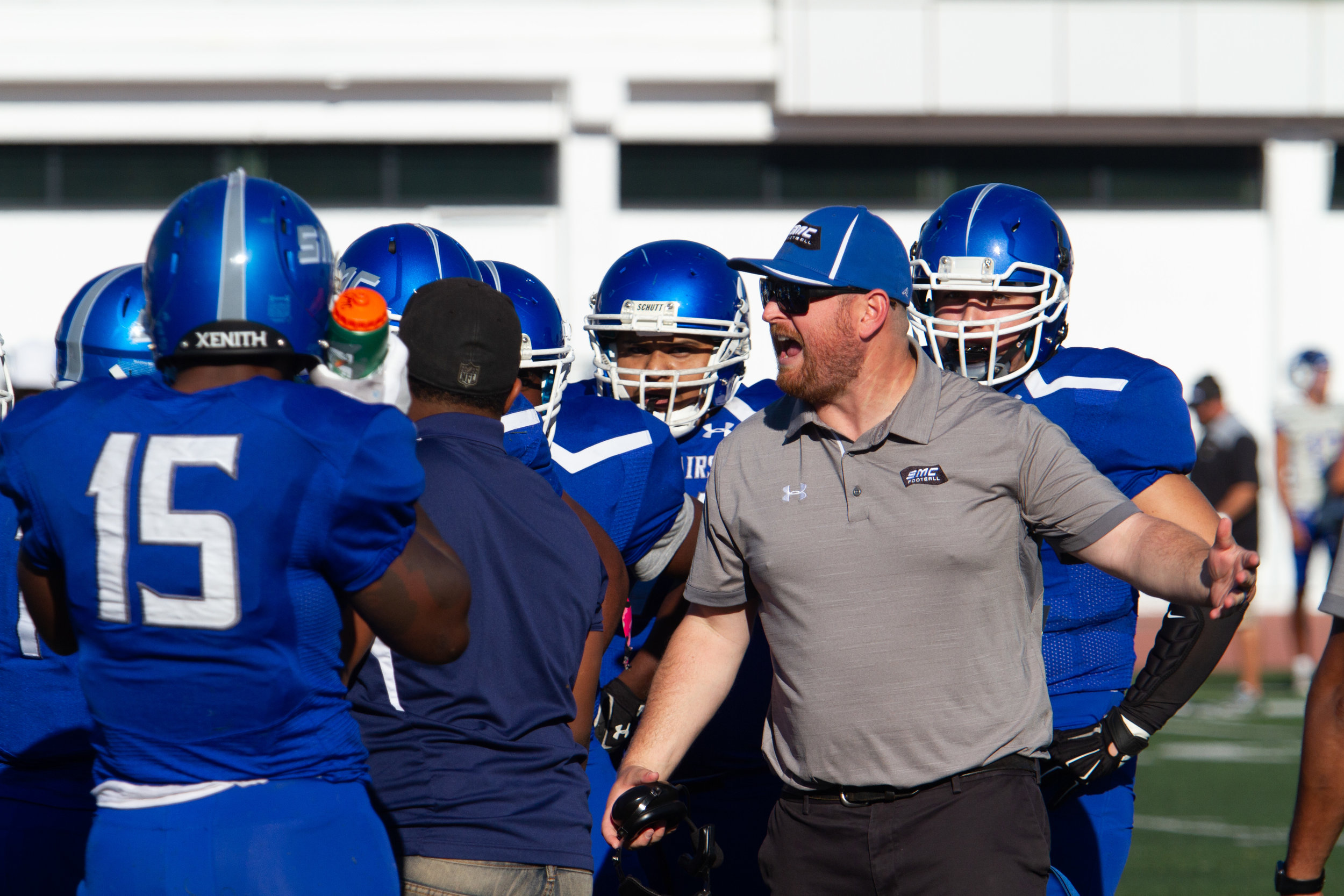Corsair's head coach Kelly Ledwith shouts at the offensive after reoccuring mistakes during Santa Monica College homecoming game agaisnt Allan Hancock Vikings on October 20, 2018. Corsairs lose 52-0.(Ricardo Herrera/Corsair Photo)