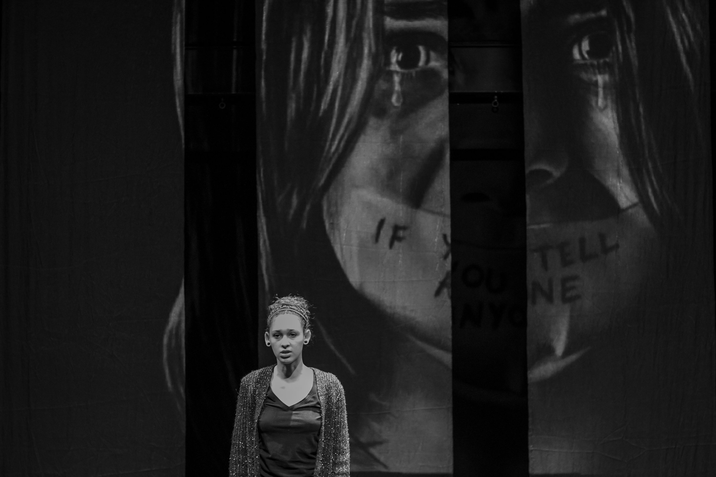 Shatarah Sharpe portrays a victim of domestic violence and sexual abuse, who breaks her silence. Dress rehearsal production was in the Santa Monica College's (SMC) Sound Stage Oct. 30, 2018. (Yasser Marte/Corsair Staff)