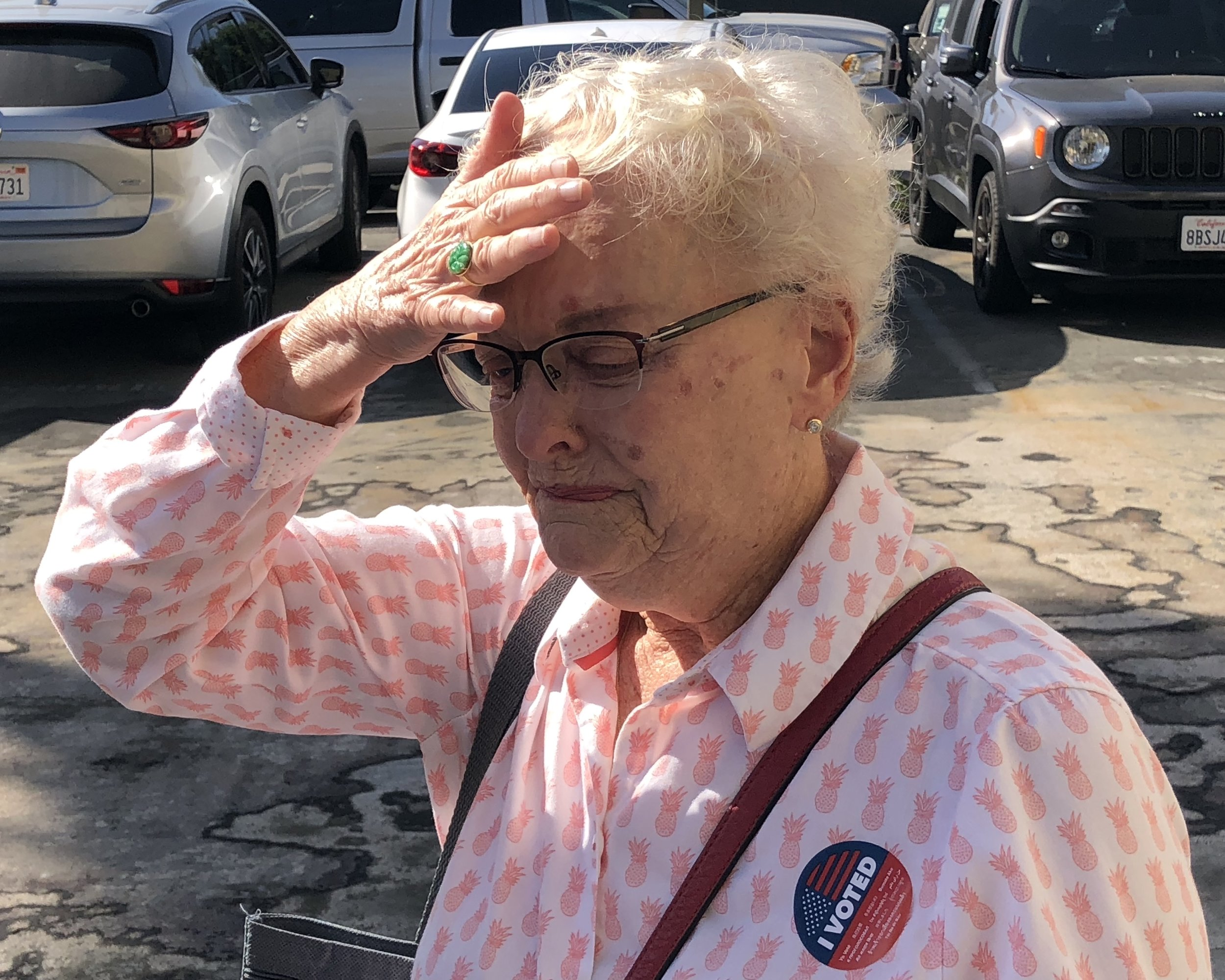 Santa Monica resident Patricia Olsen, 80, details her hope for the future of California after voting in the California General Election in Santa Monica, California on Tuesday, November 6, 2018. Olsen says that this particular midterm election has been her most poignant and emotional voting experience. (Oskar Zinnemann/ Corsair Staff)