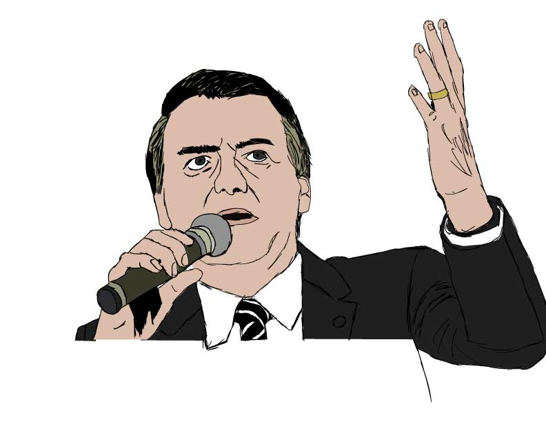 Illustration of Jair Messias Bolsonaro by Andrew Khanian