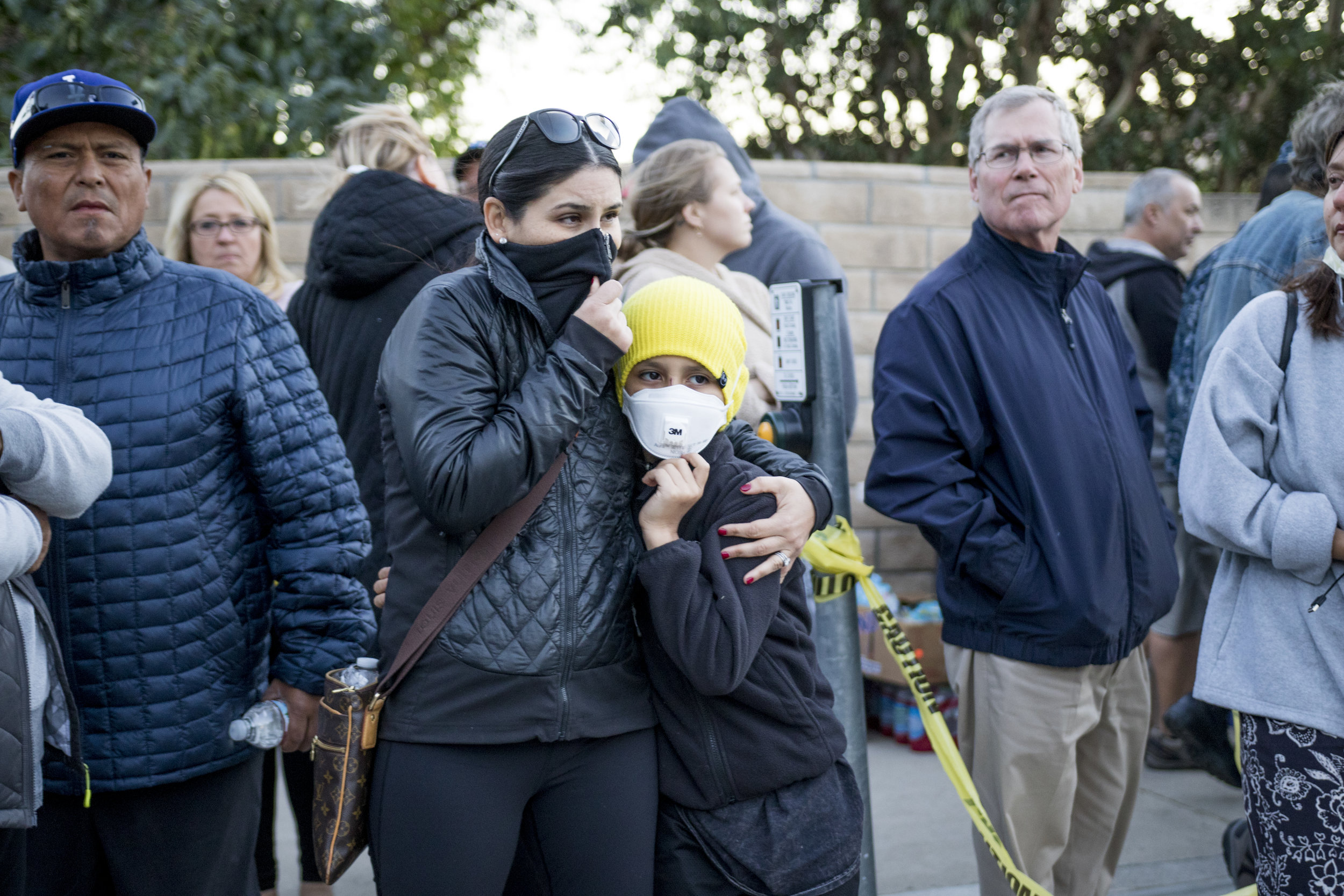 People wait to receive word that they can go back to their homes in Bell Canyon, California on November 12, 2018 after the Woolsey Fire burned through their neighborhoods. (Zane Meyer-Thornton/Corsair Photo)