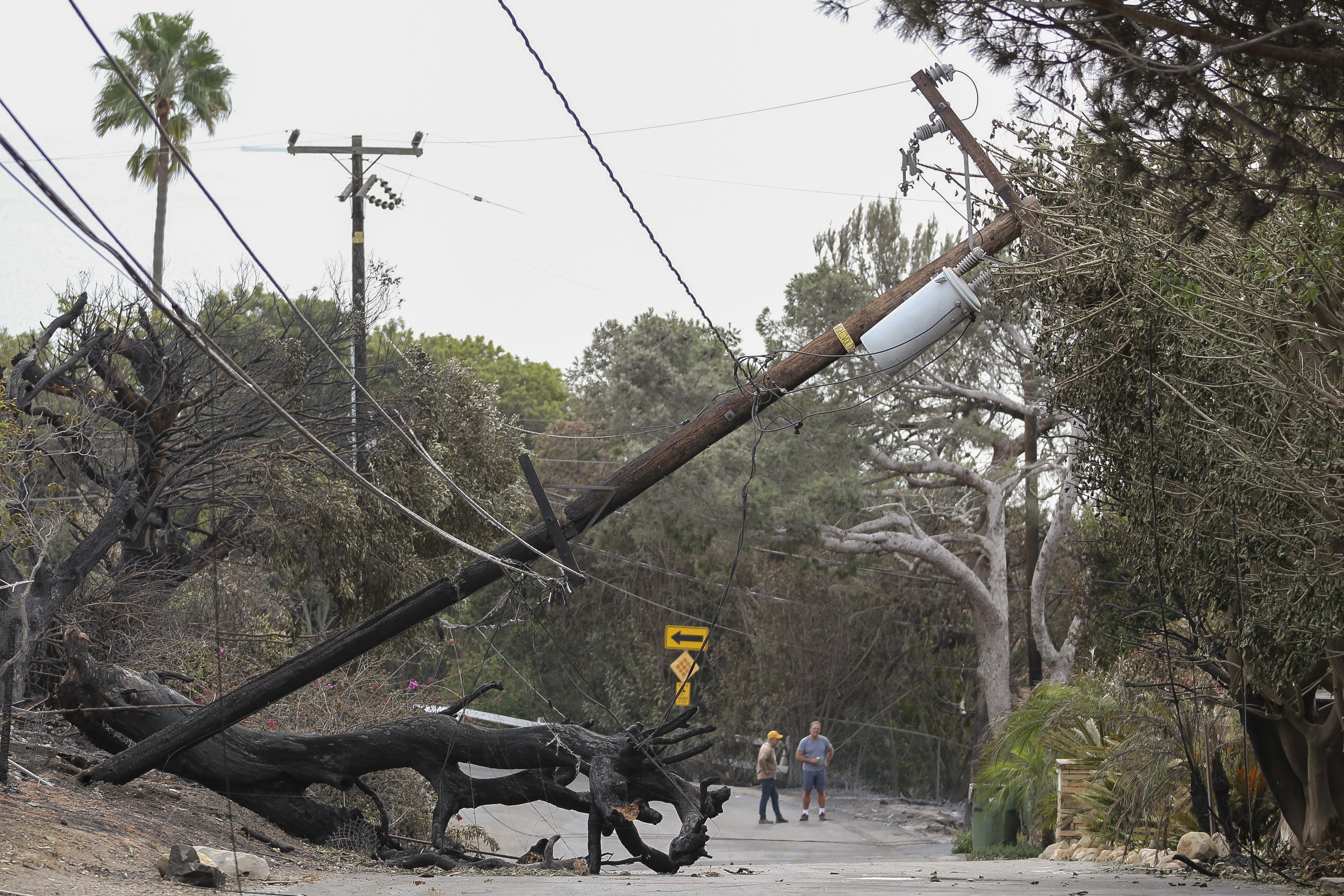 A downed power line from the Woolsey fire sits in the middle of Filaree Heights Ave on November 14, 2018 in Malibu, Calif. (Jose Lopez)