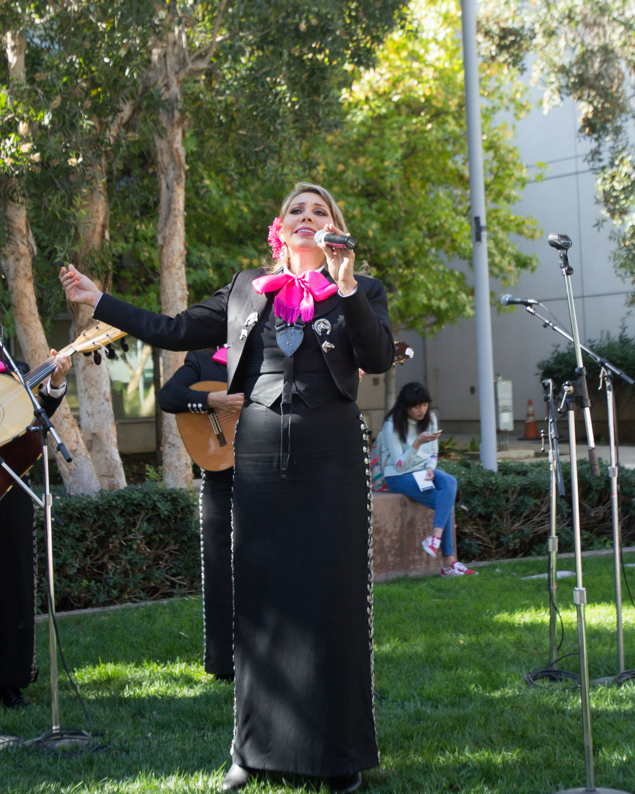 "Band member of mariachi band ""Corazon De Mexico"" performing cover of the song ""El Rey"" by Vicente Fernandez outside the quad area located at  Santa Monica College in Santa Monica California on Tuesday November 13th, 2018. (Jacob Victorica/ Corsair Photo)"