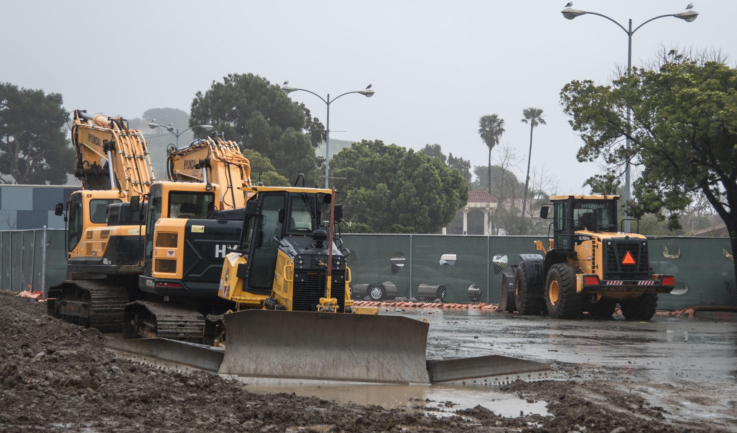 Construction on Santa Monica College's Malibu Campus halts due to continuous heavy rainfall on February 14, 2019 in Malibu, California. Photo By: Oskar Zinnemann/The Corsair