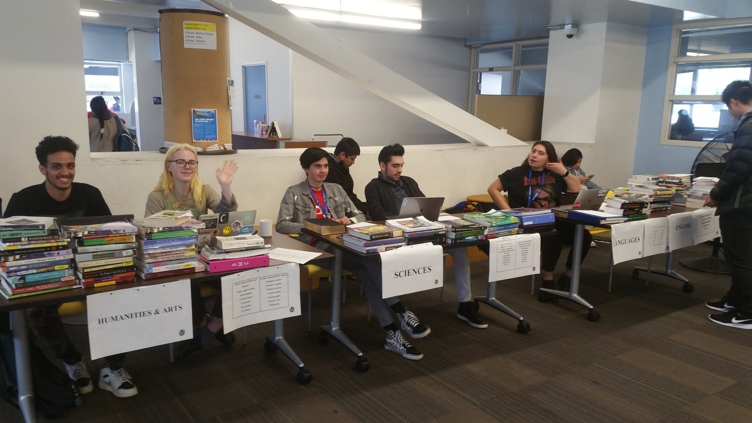 Associated Students Book Fair staff oversee secondhand books put on sale by Santa Monica College students at the SMC Cayton Center, February 19, 2019 in Santa Monica, California. Joshua Gonzalez/The Corsair