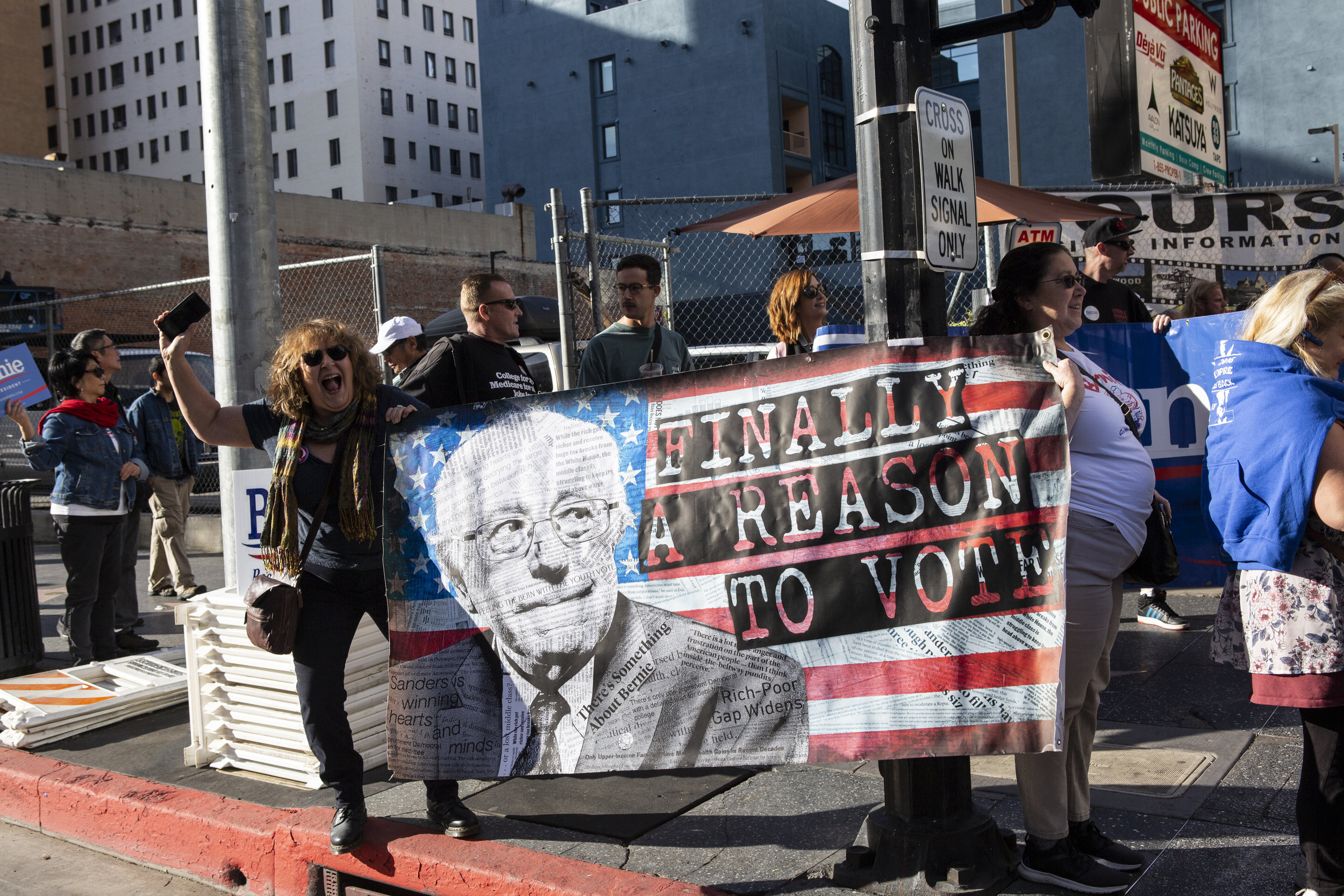 Bernie Sanders supporters gathered for the march and rally, Saturday, February 23, 2019 in Hollywood, Calif. Senator Bernie Sanders announced this past Tuesday that he will again seek the presidency and his supporters get together to support him with different slogans. Yasmin Jafari / The Corsair