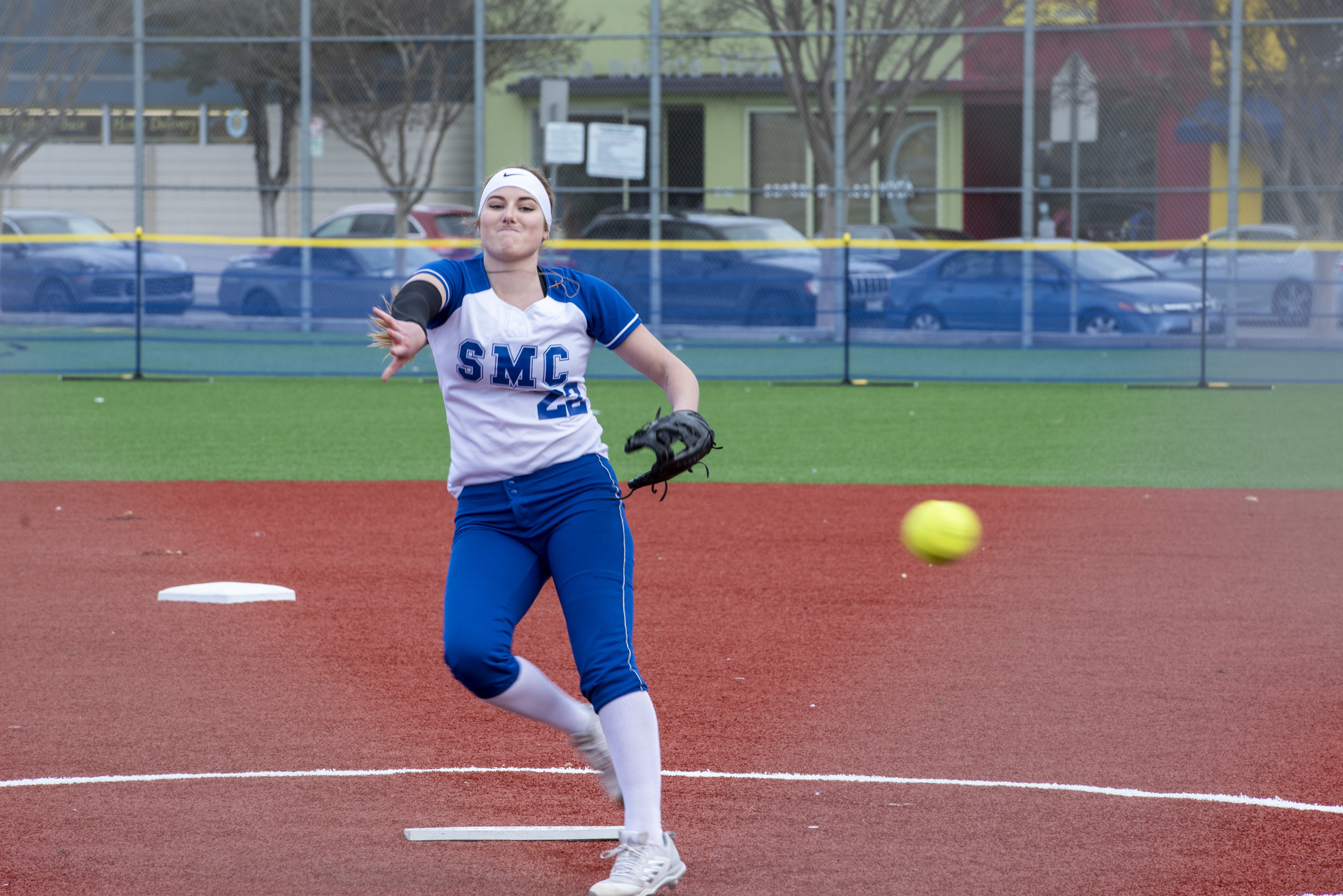 Corsair starting pitcher, Ireland Miessau, 22, on the mound at the top of the third inning against the Allen Handcock Bulldogs on Thursday, February 21, 2019. Miessau finished the game with seven strike outs and no runs. Clyde Bates Jr./The Corsair