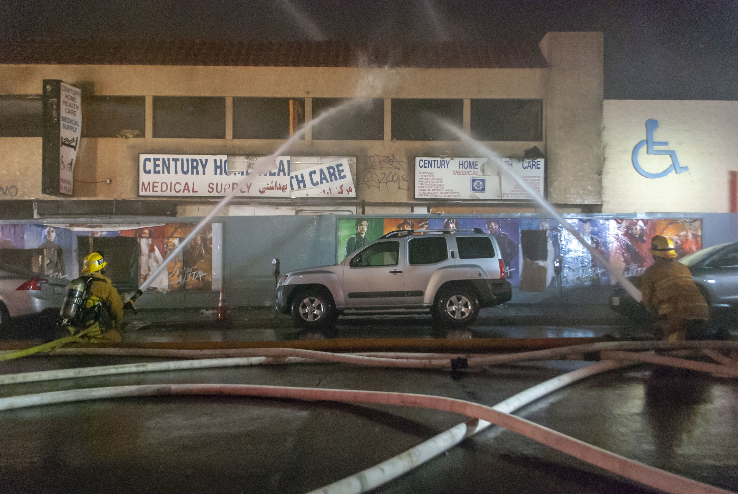 83 Los Angeles Fire Department firefighters combat a two-story commercial building fire on Wednesday, Feb. 27, 2019, at the 1500 block of Westgate Ave.  in Los Angeles, California. Numerous fire companies spent two hours and twenty-four minutes to extinguish most of the fire. According to the Los Angeles Fire Department Alert, the fire's cause remains under investigation. (Andrew Narváez/The Corsair)
