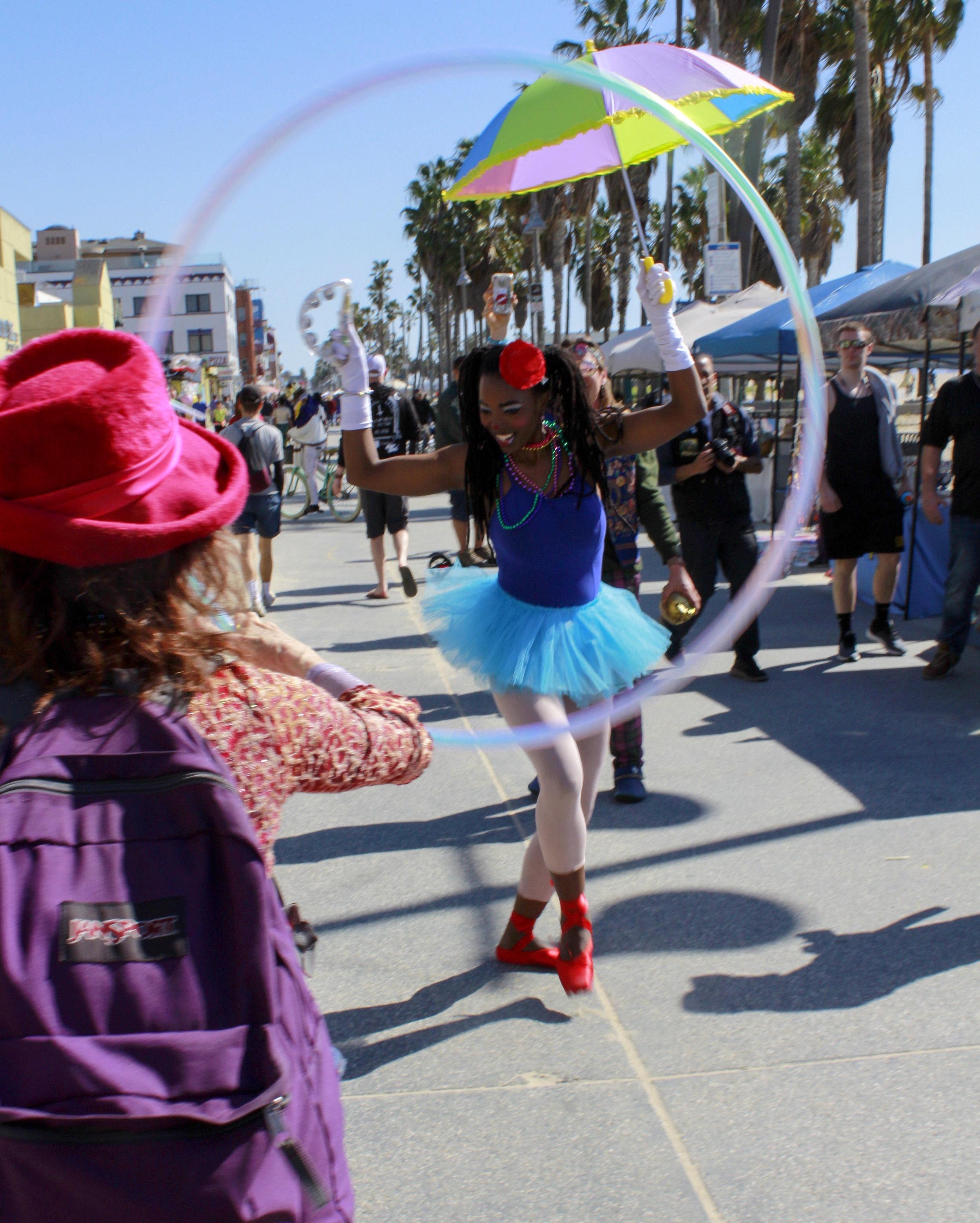 The 17th annual Venice Beach Mardi Gras parade on the boardwalk of Venice Beach in Los Angeles, California on Feb 23, 2019. Photo by Danica Creahan.