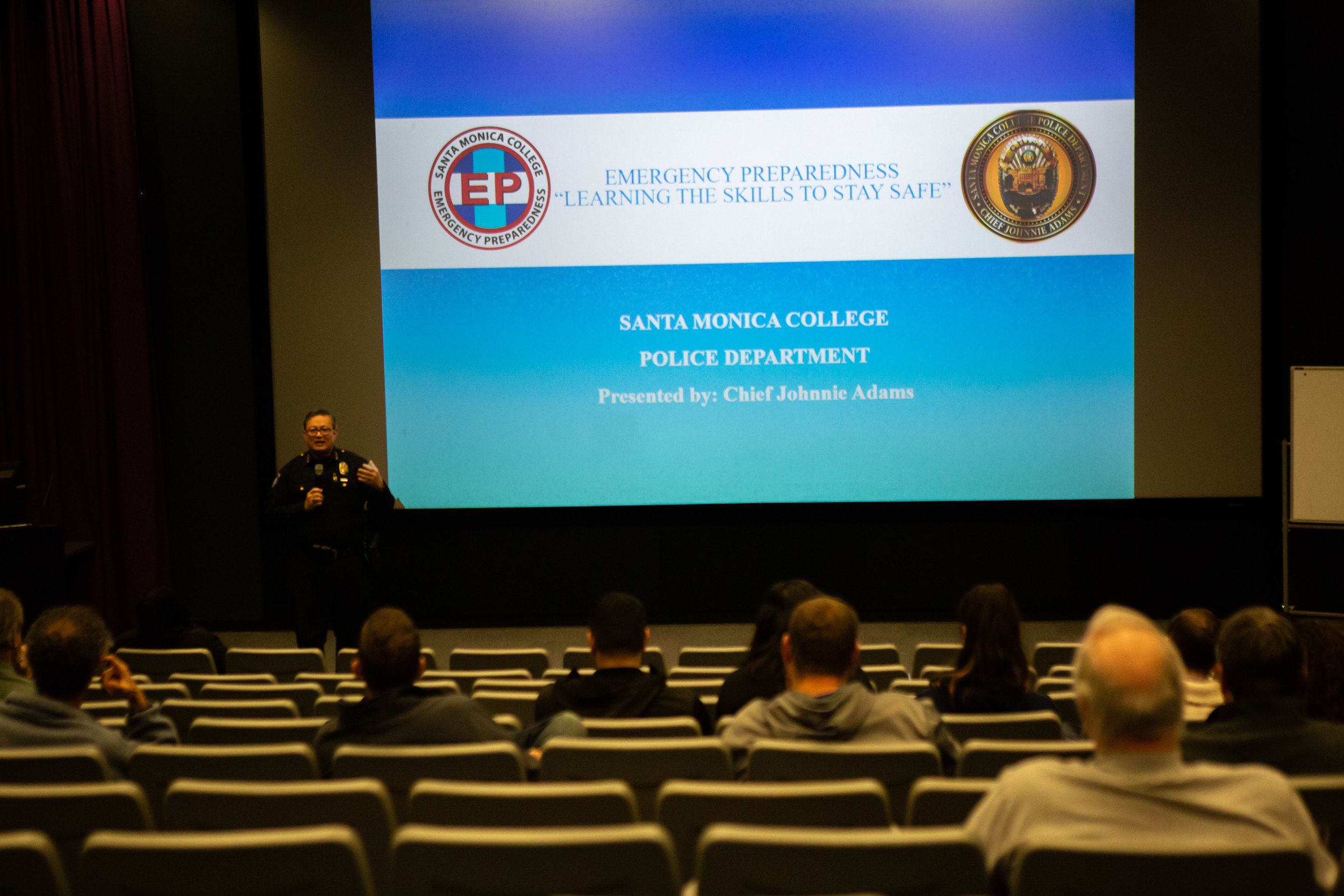 Johnnie Adams, Chief of Police at Santa Monica Community College District explaining the drill protocols to faculties, students and volunteers on Friday, March 1, 2019. AT the Center for media and Design in Santa Monica, Calif.