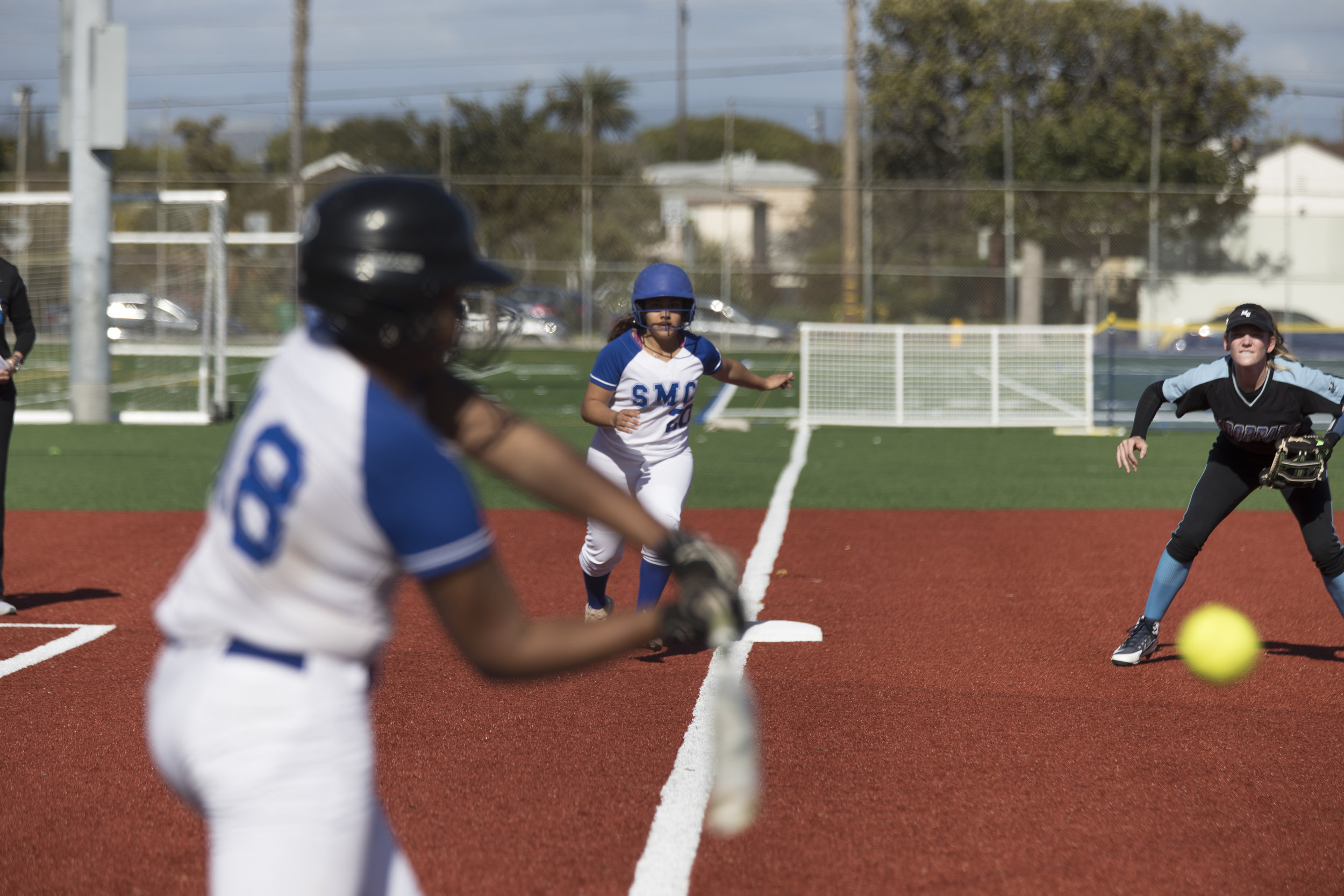 Batter Jasmine Loftin and Nikki Valdez from Santa Monica Corsairs playing the Moorpark College Raiders at Santa Monica College on Thursday March 7, 2019. Final score 9-5 for the Corsairs. Photo by Tanya Barcessat