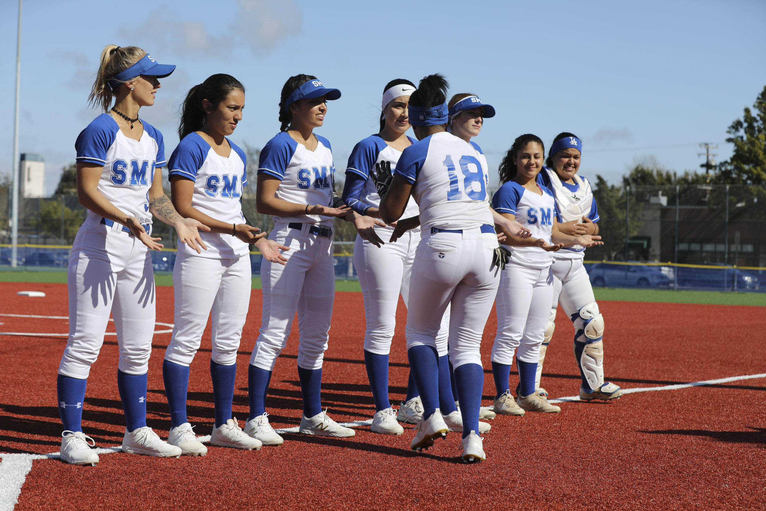Corsairs Women's Softball starting line-up from Santa Monica College, Taylor Scott, Emma Soto, Alyssa Moreno, Erika Soto, Ireland Miessau, Nikki Valdez, Chica Sanchez and Jasmine welcome Jasmine Loftin at Santa Monica College and beat the Moorpark Raiders (score 9-5)on Thursday March 7, 2019. Photo by Tanya Barcessat