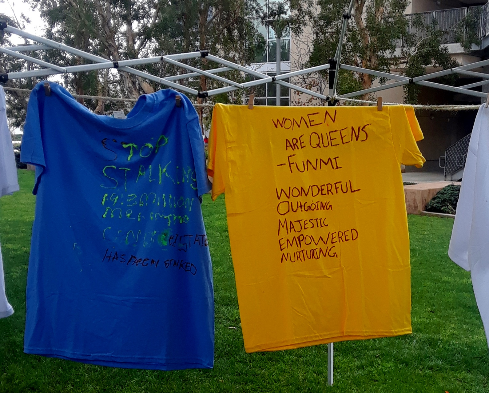 T-shirts from the Clothesline Project honor domestic violence victims in Santa Monica College on Tuesday, March 5 in Santa Monica, California. Martha Ramirez/The Corsair