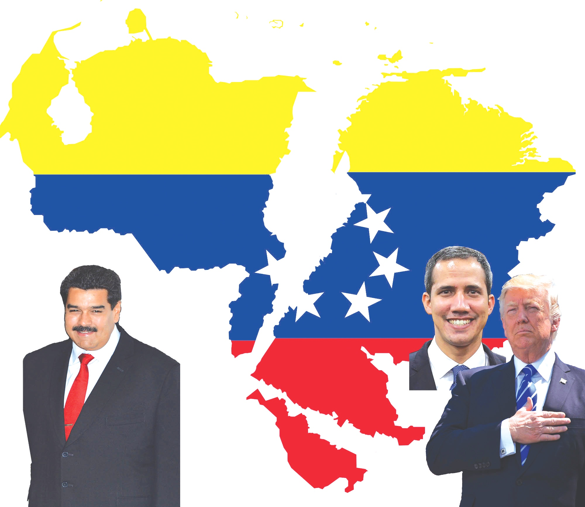Illustration of Venezuela's President Nicolás Maduro, Opposition leader Juan Guaido, and U.S. President Donald Trump amongst a divided Venezuela. (Illustration by Conner Savage)