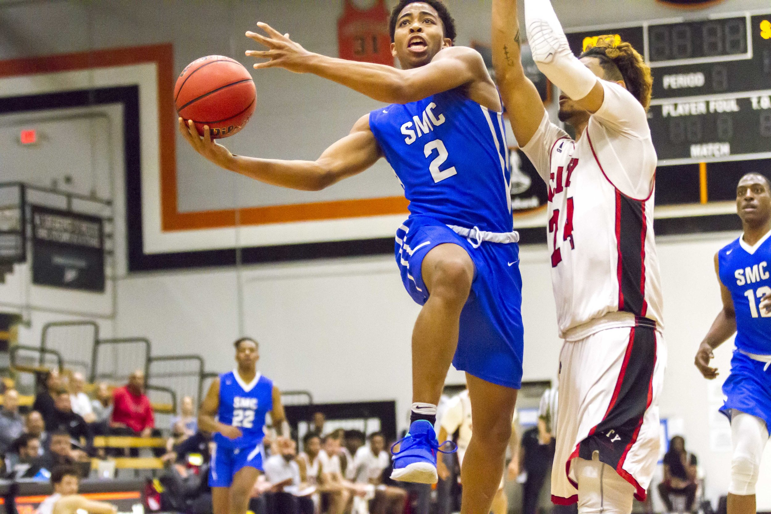Mekhi Kimble (#2) from the Santa Monica College Corsairs and Walter Urbina(#24) from the defending CCCAA Champions of the City College of San Francisco at the CCCAA Men's Basketball Championship Turnament at Ventura College on Thursday March 14, 2019. Final Score 67-63. Photo by Tanya Barcessat