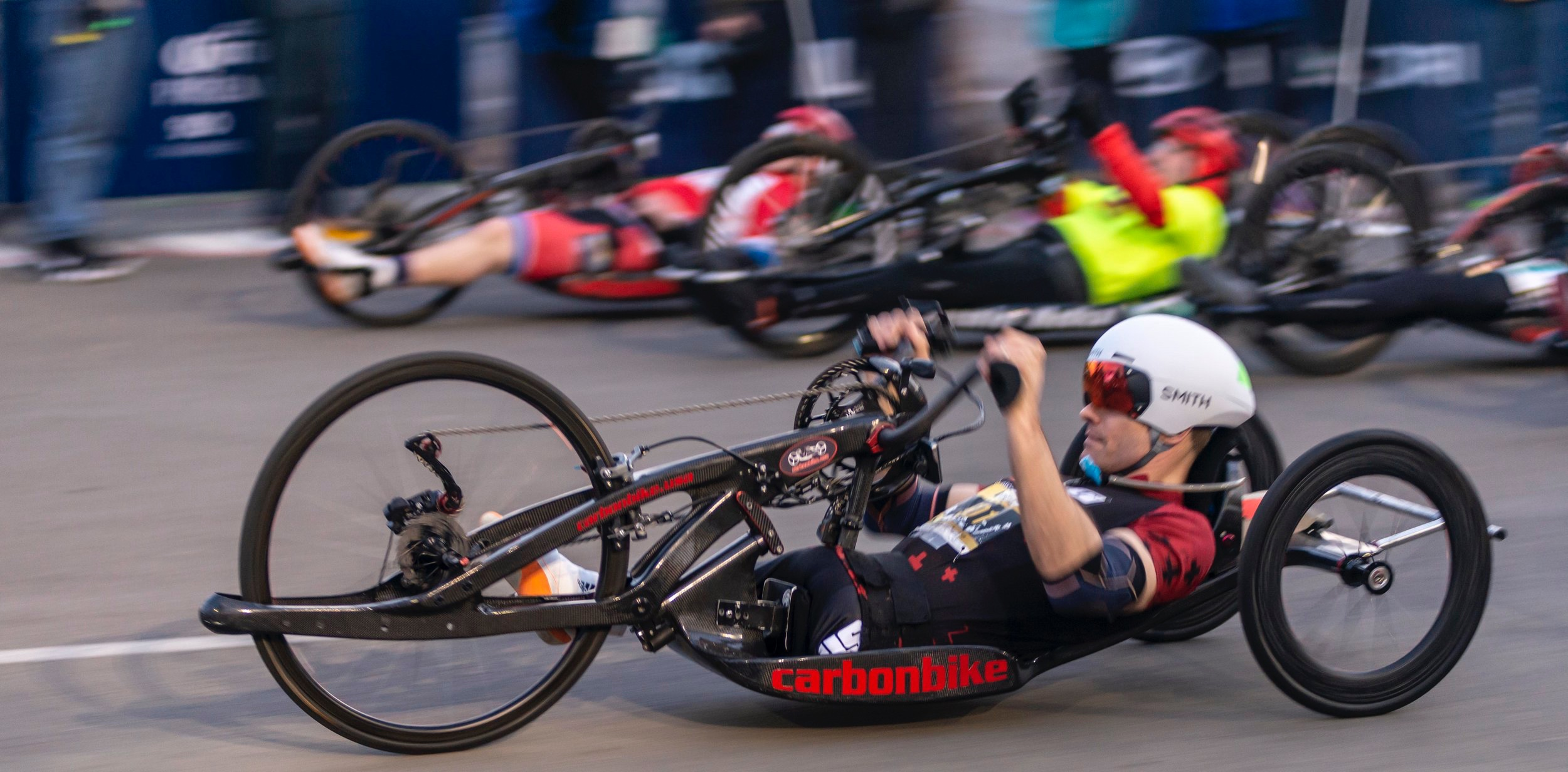 Handcyclist, Travis Gaertner (cq), bursts off the starting line at the 34th Los Angeles Marathon on Sunday, March 24, 2019, at Dodger Stadium in Los Angeles, Calif. Gaertner crosses the finish first with a total handcycle marathon time of 1:06:29. ( Andrew Narvaez/The Corsair)