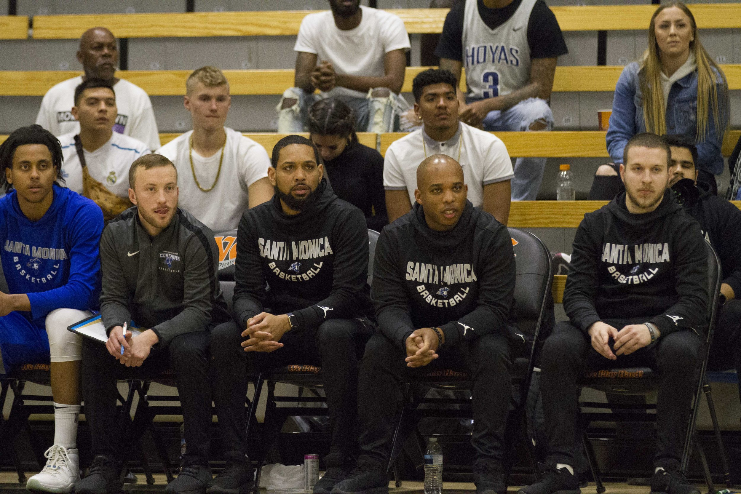 Lucas Zeemen (#11) and the Santa Monica College Corsairs coaches Ben Doran, Devon Richardson, Joshua Thomas (Head coach) and Justin Maidenberg at the CCCAA Men's Basketball Championship (quarterfinals) playing the City College of San Francisco Rams at Ventura College on Thursday March 14, 2019. Final Score 67-63 for the Rams. Photo by Tanya Barcessat