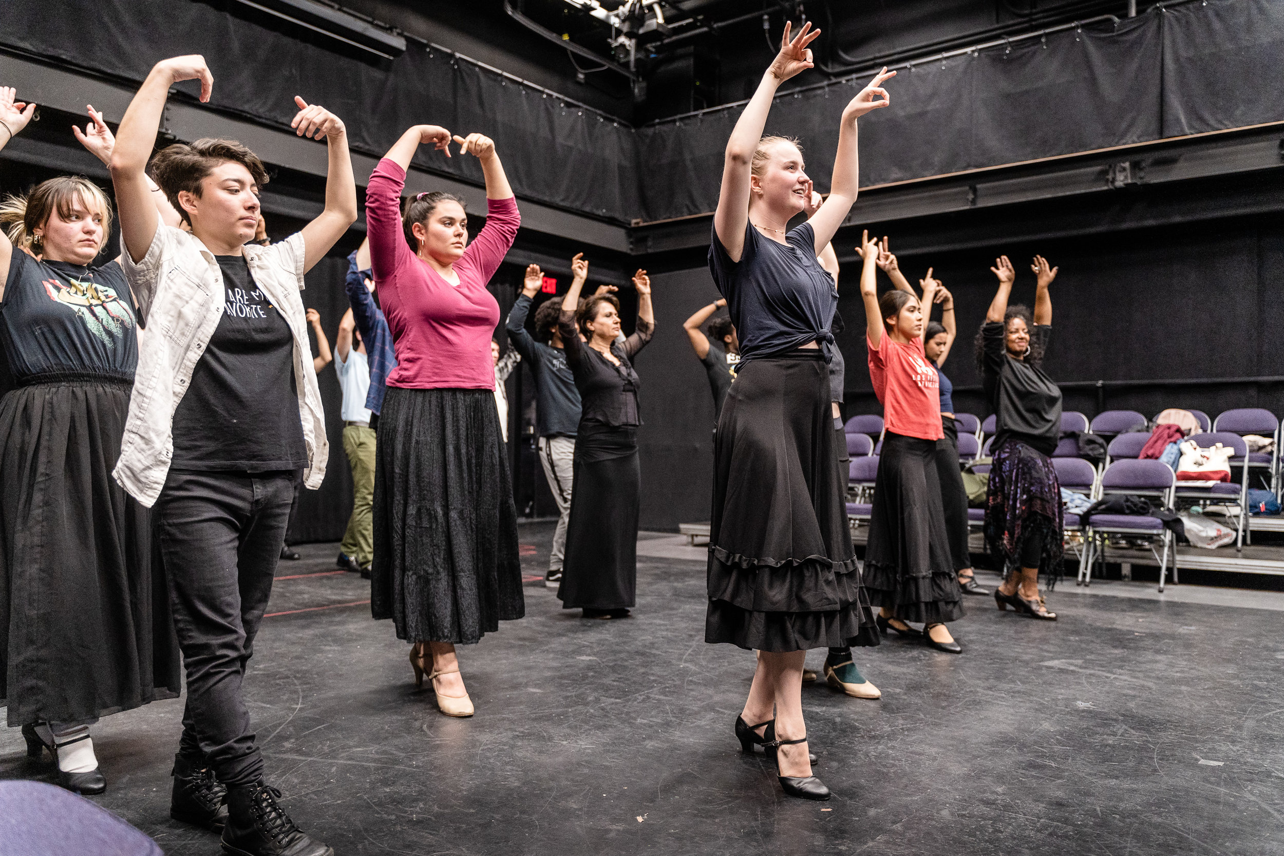 The cast of Flamenco Macbeth, an adaptation of William Shakespeare's Macbeth by SMC Theatre Arts department chair Perviz Sawoski, rehearsing dance moves in SMC's Studio Stage on Thursday, March 21, 2019. Flamenco Macbeth will premiere and run in this same Studio Stage space from April 26 through May 5, 2019. (Glenn Zucman/The Corsair)