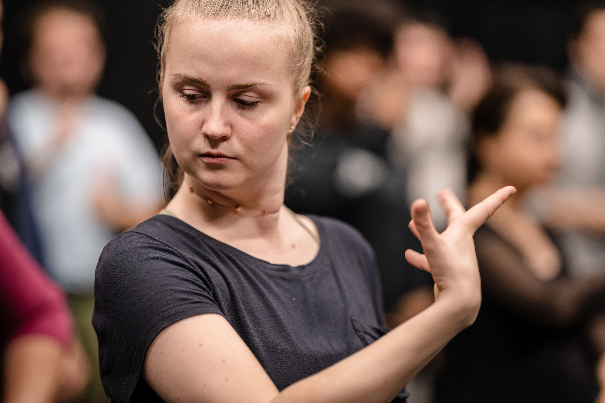 Josefin Östevik, 21, an SMC Musical Theatre major from Västeras, Sweden, rehearses dance choreography for the SMC production of Flamenco Macbeth at the SMC Studio Stage on Thursday, March 21, 2019. Flamenco Macbeth is an adaptation of Shakespeare's Macbeth by SMC Theatre Arts department chair Perviz Sawoski. The play will be performed at the SMC Studio Stage, a 100-seat thrust stage, from April 26 through May 5, 2019. (Glenn Zucman/The Corsair)