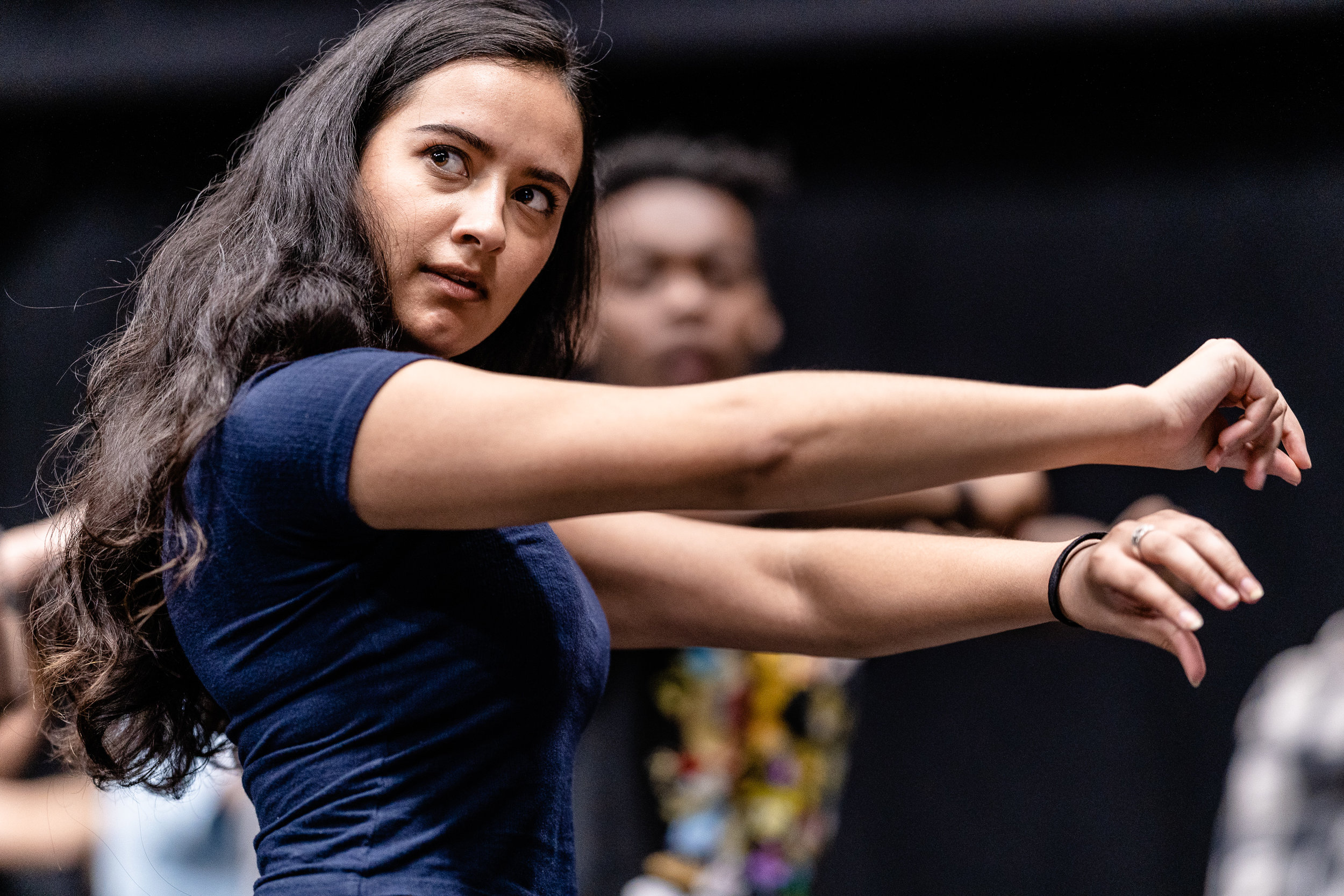 Julia Michelle, 26, an SMC Theatre Arts major from Umeå, Sweden, rehearses flamenco choreography for her role as Lady Macbeth in the SMC production of Flamenco Macbeth at the SMC Studio Stage on Thursday, March 21, 2019. As soon as this dance rehearsal ended, Michelle had to dash from the Studio Stage to SMC's Main Stage to participate in the Tech Rehearsal for her role as Mistress Quickley in the SMC production of Shakespeare in Love. Flamenco Macbeth is an adaptation of Shakespeare's Macbeth by SMC Theatre Arts department chair Perviz Sawoski. The play will be performed at the SMC Studio Stage, a 100-seat thrust stage, from April 26 through May 5, 2019. (Glenn Zucman/The Corsair)