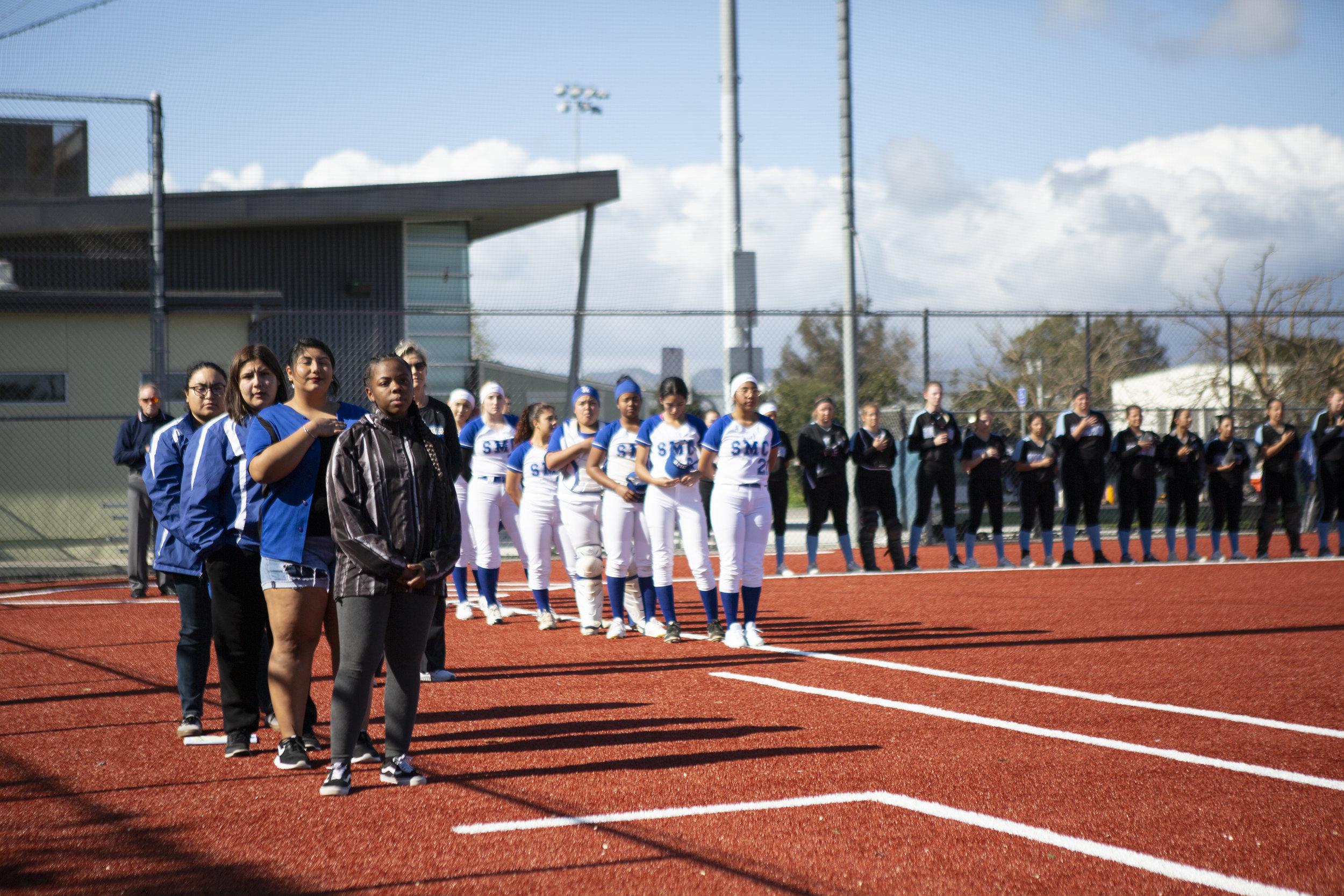 Santa Monica College softball team playing at home vs Moorpark team, Thursday, March 7, 2019 in Santa Monica, Calif.