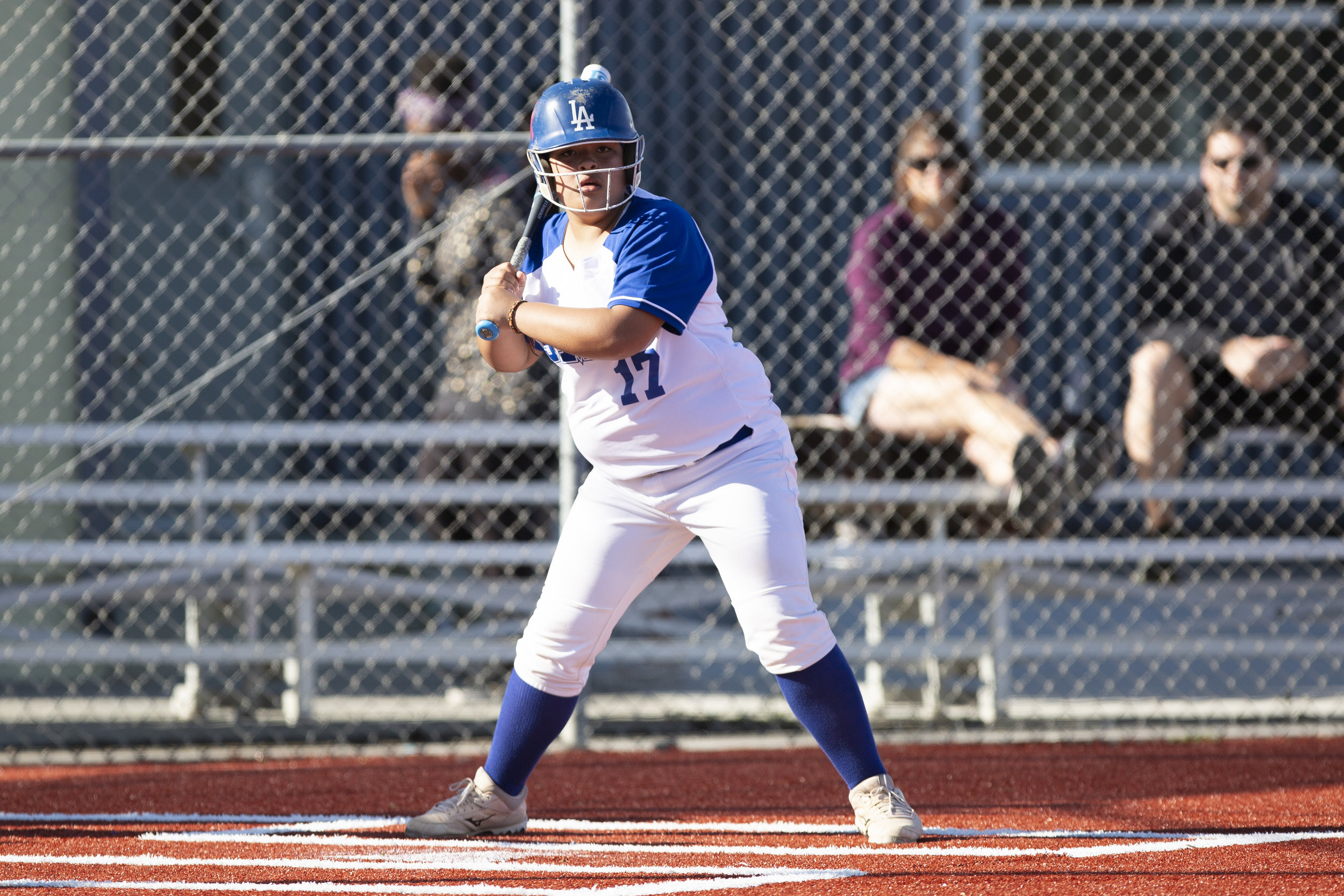 Chica Sancez, from Santa Monica College softball team playing at home vs Moorpark team, Thursday, March 7, 2019 in Santa Monica, Calif.