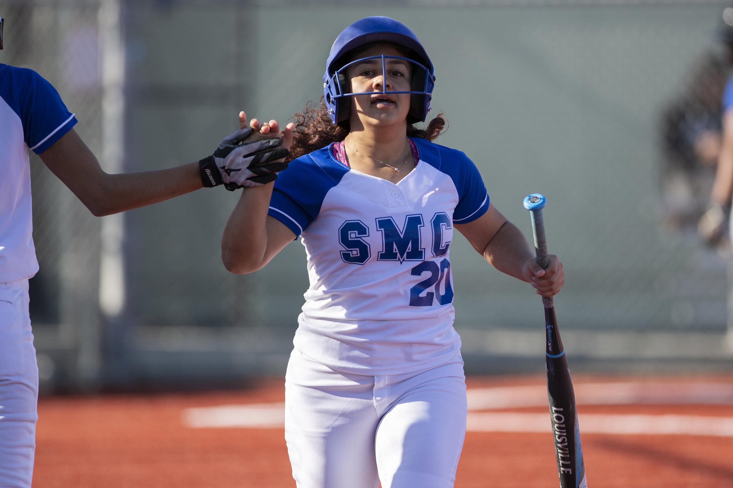 Nikki Valdez, from Santa Monica College softball team playing at home vs Moorpark team, Thursday, March 7, 2019 in Santa Monica, Calif.