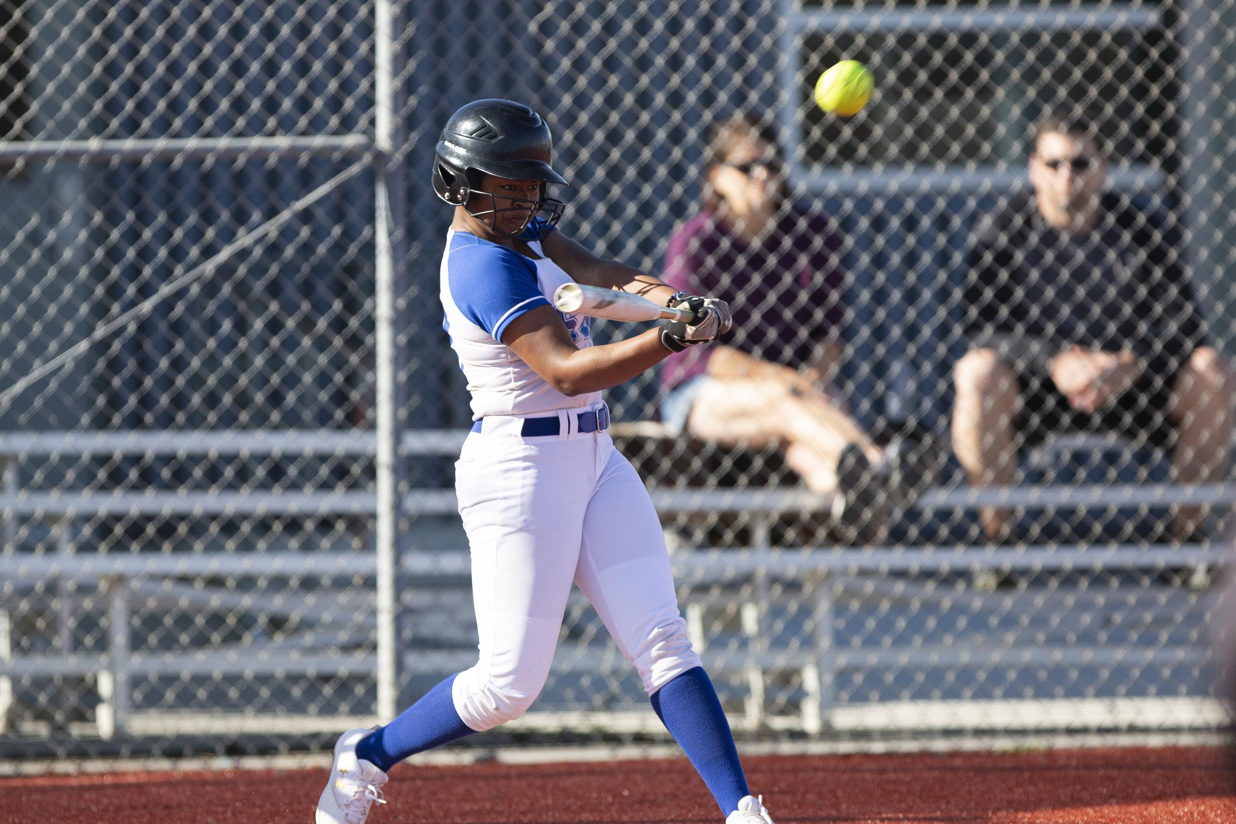 Jasmine Loftin, from Santa Monica College softball team playing at home vs Moorpark team, Thursday, March 7, 2019 in Santa Monica, Calif.