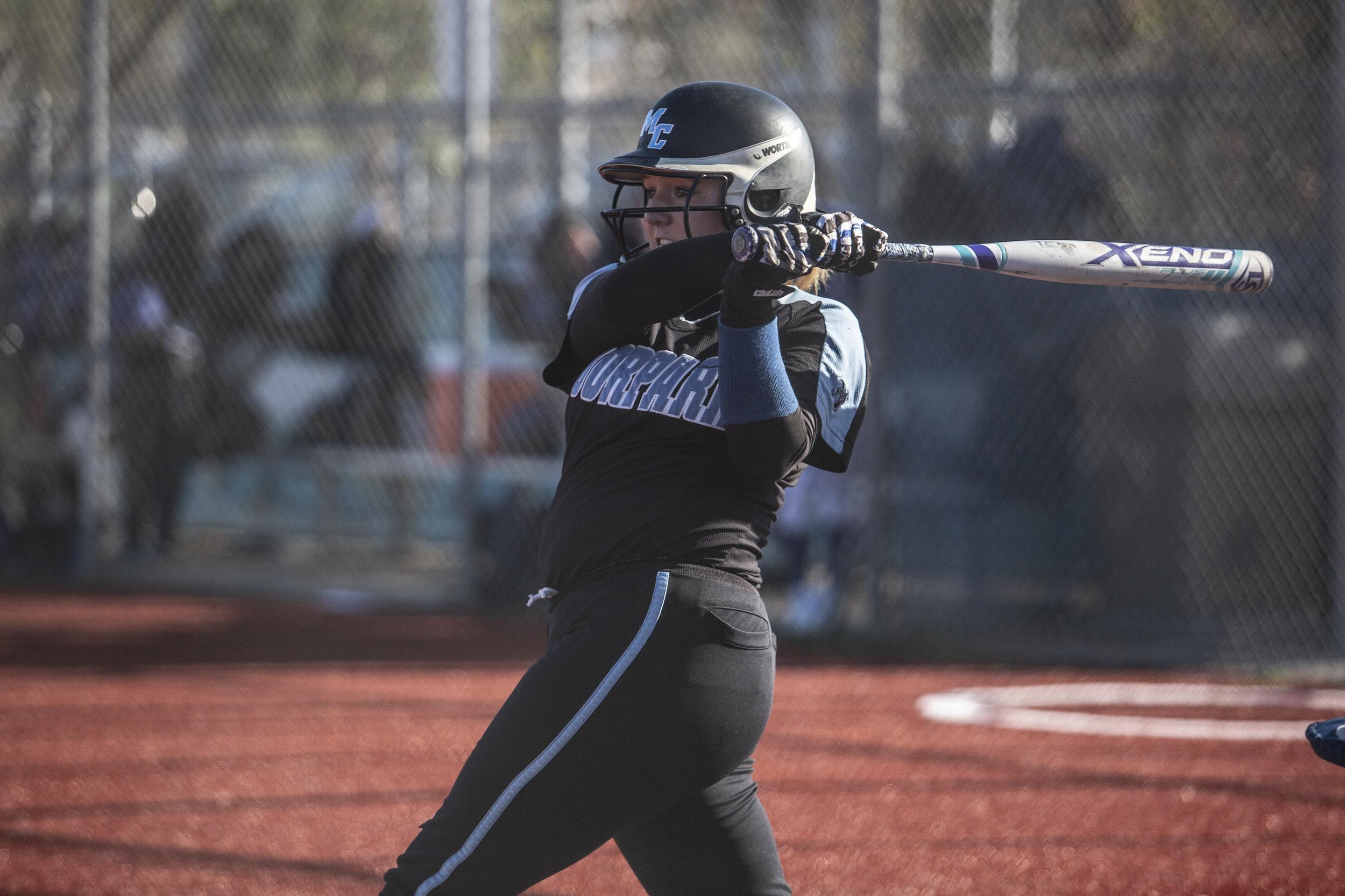 Aubrey Sutherland, from Santa Monica College softball team playing at home vs Moorpark team, Thursday, March 7, 2019 in Santa Monica, Calif.