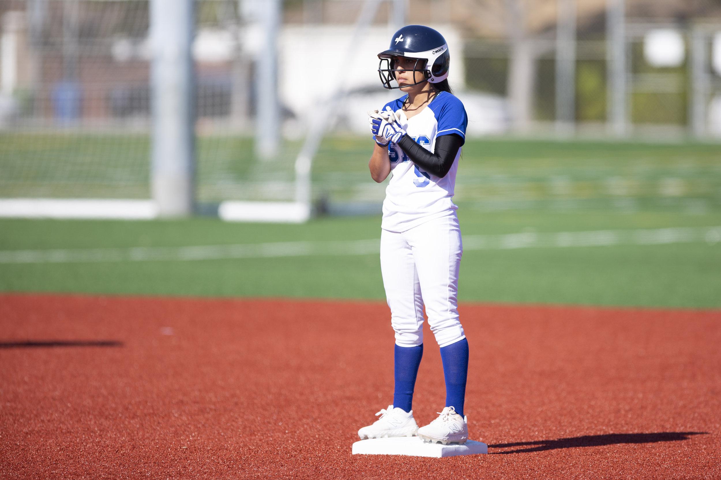 Emma Soto, from Santa Monica College softball team playing at home vs Moorpark team, Thursday, March 7, 2019 in Santa Monica, Calif. ( Yasmin Jafari / The Corsair)
