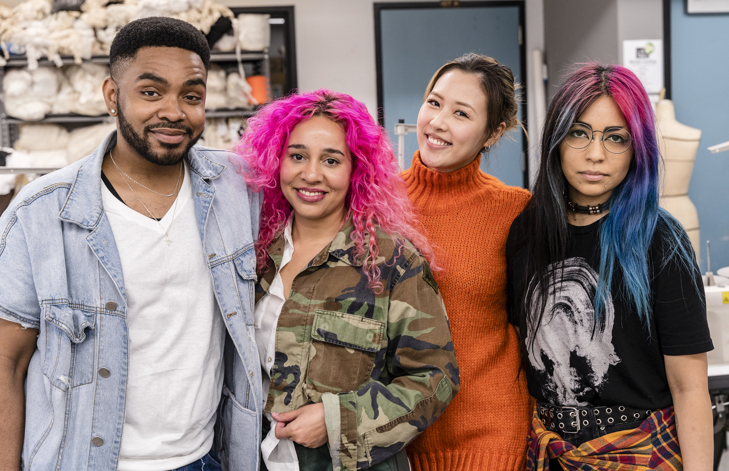 SMC students Durryl Washington, Angela Dillman, Ayano Muramatsu, and B Palomarez preparing for Fashion Design & Merchandising's LA Mode fashion show in their studios on the SMC Main Campus on Thursday, March 28, 2019. Fashion Designers Washington and Palomarez will have their work featured in the show, and Fashion Merchandisers Dillman and Muramatsu are producing the show including promoting it on social media. LA Mode will be held at Barnum Hall in Santa Monica on Thursday, June 13 at 7 pm. (Glenn Zucman/The Corsair)