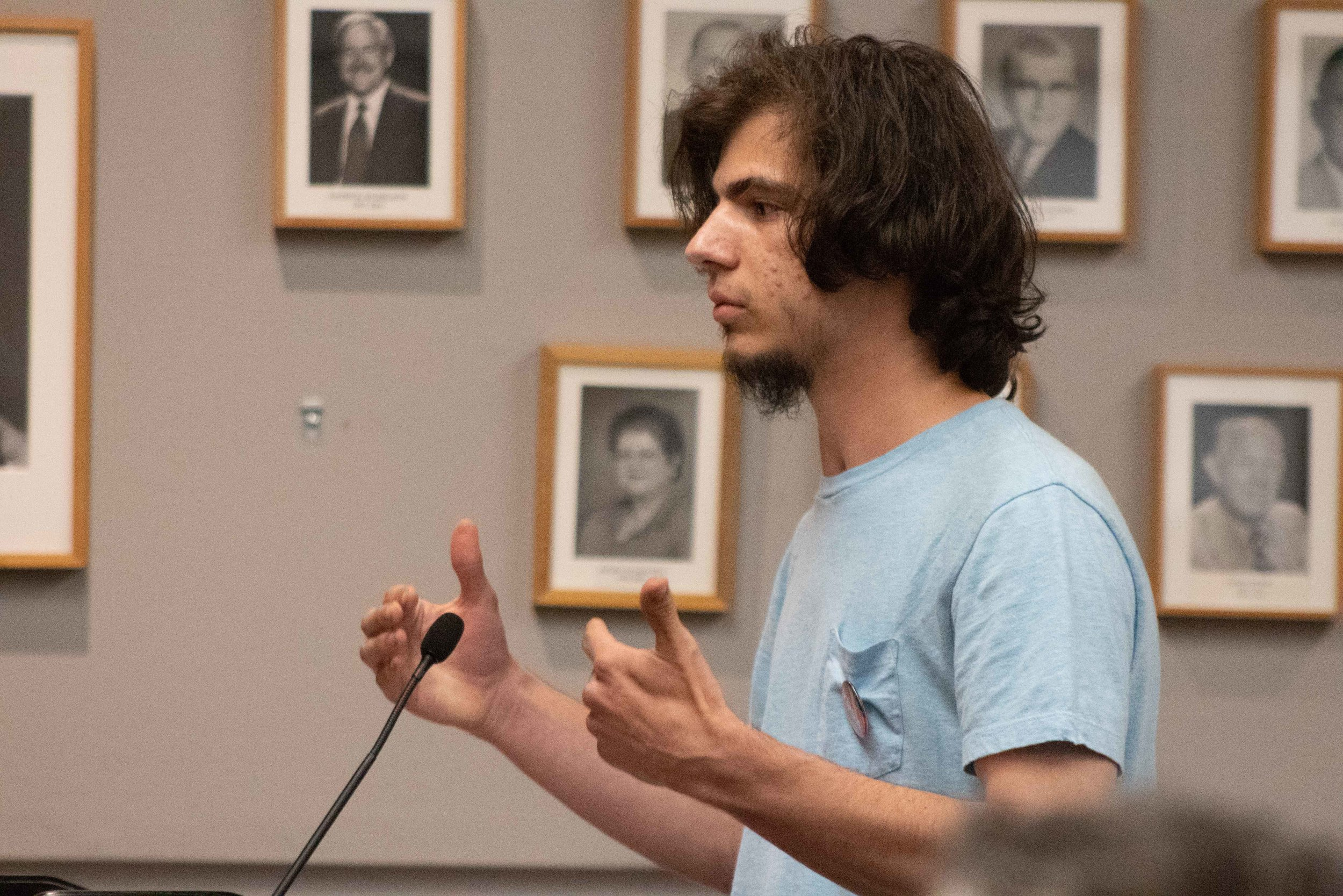 Mason Mineo, Santa Monica College student, describes his time as being homeless to the Trustees Board. March 2, 2019. (Pablo Eden Garcia/ The Corsair)