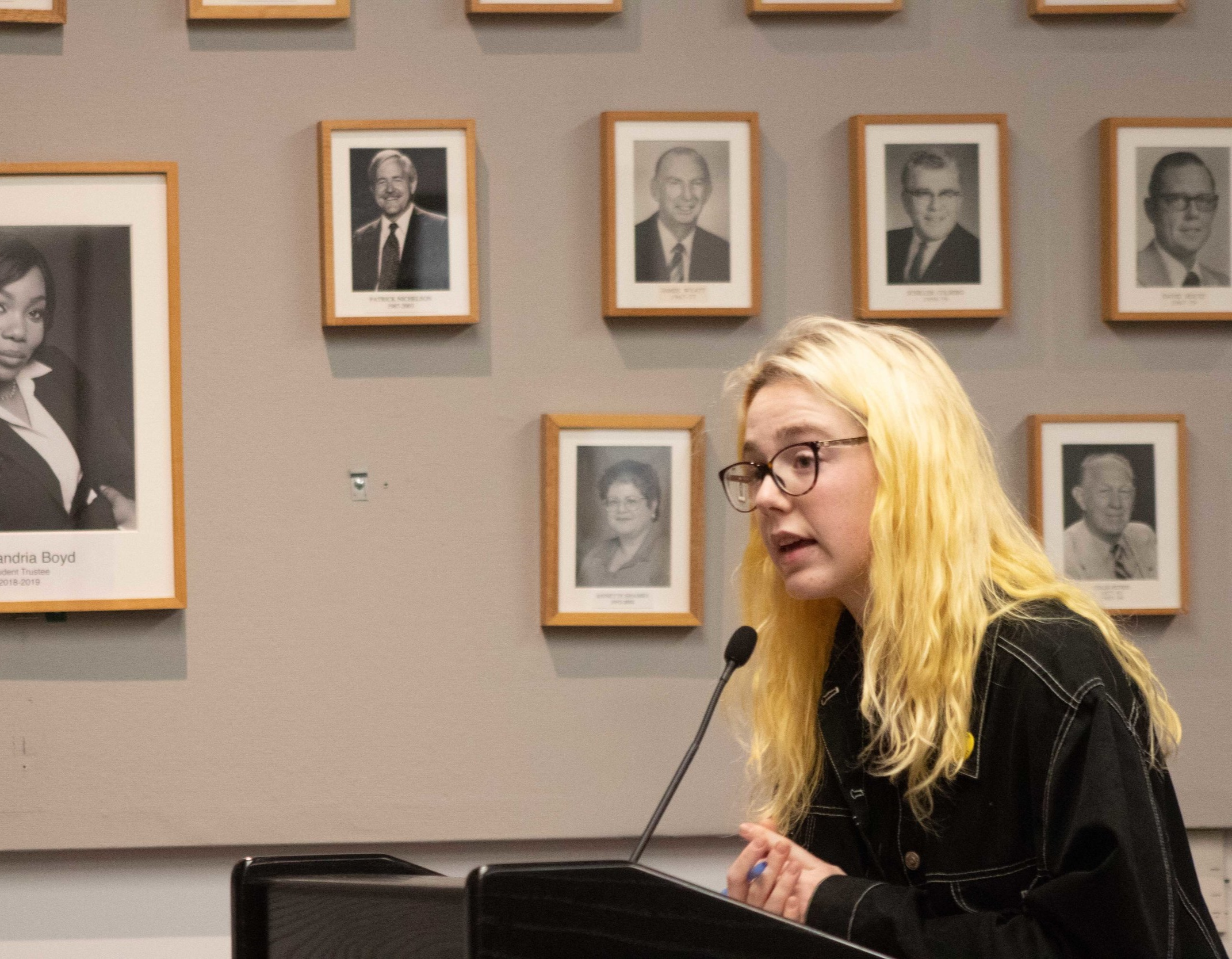 Brooke Harrington goes before the Trustee board and is a future student Trustee herself, replacing Alexandria Boyd next semester. March 2, 2019. (Pablo Eden Garcia/ The Corsair)