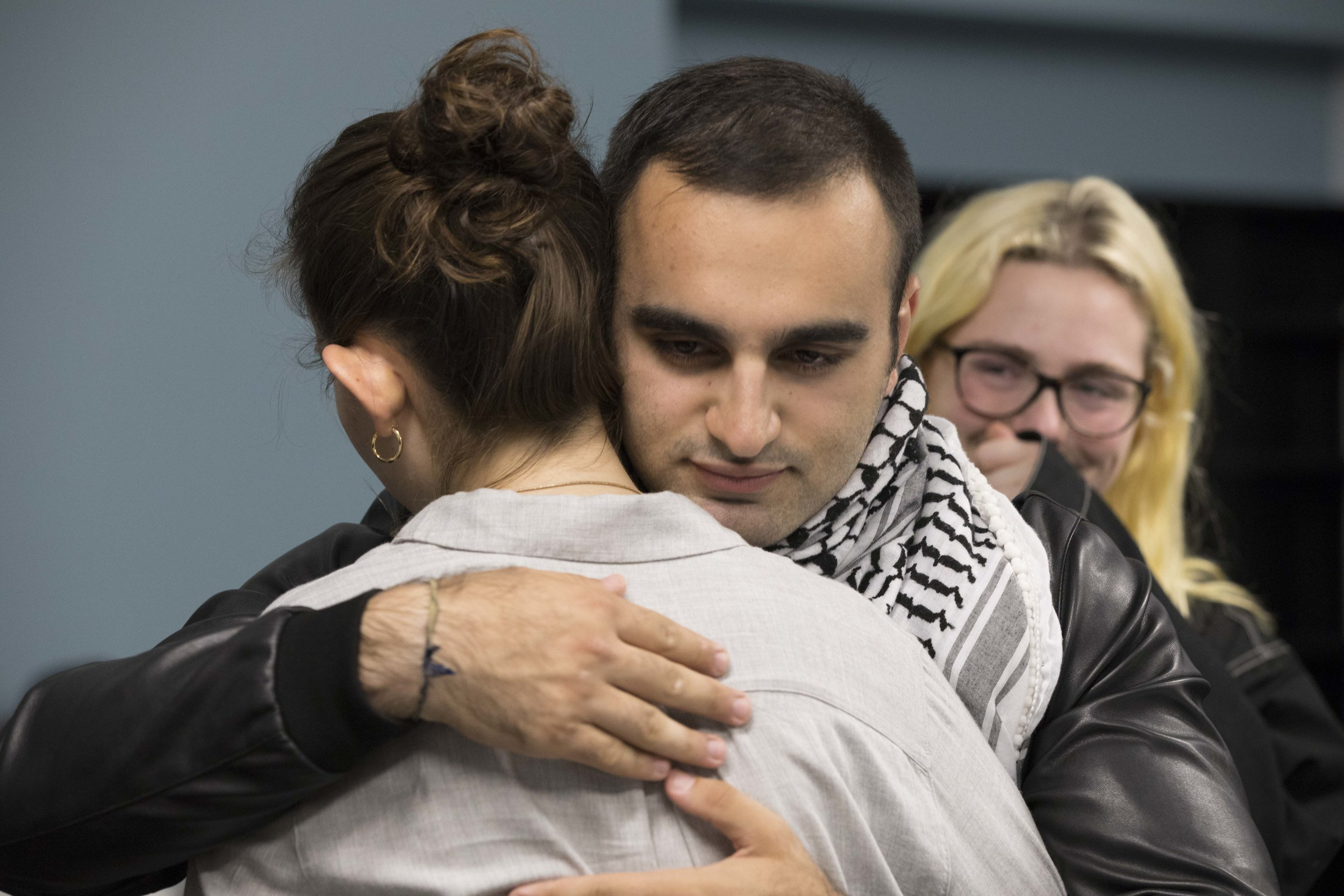 Santa Monica College student Hesham Jarmakani hugging Associate Students President Isabel Rodriguez at the Board of Trustees Meeting at Santa Monica College in Santa Monica, California on Tuesday April 2, 2019. Photographer (Tanya Barcessat / The Corsair)