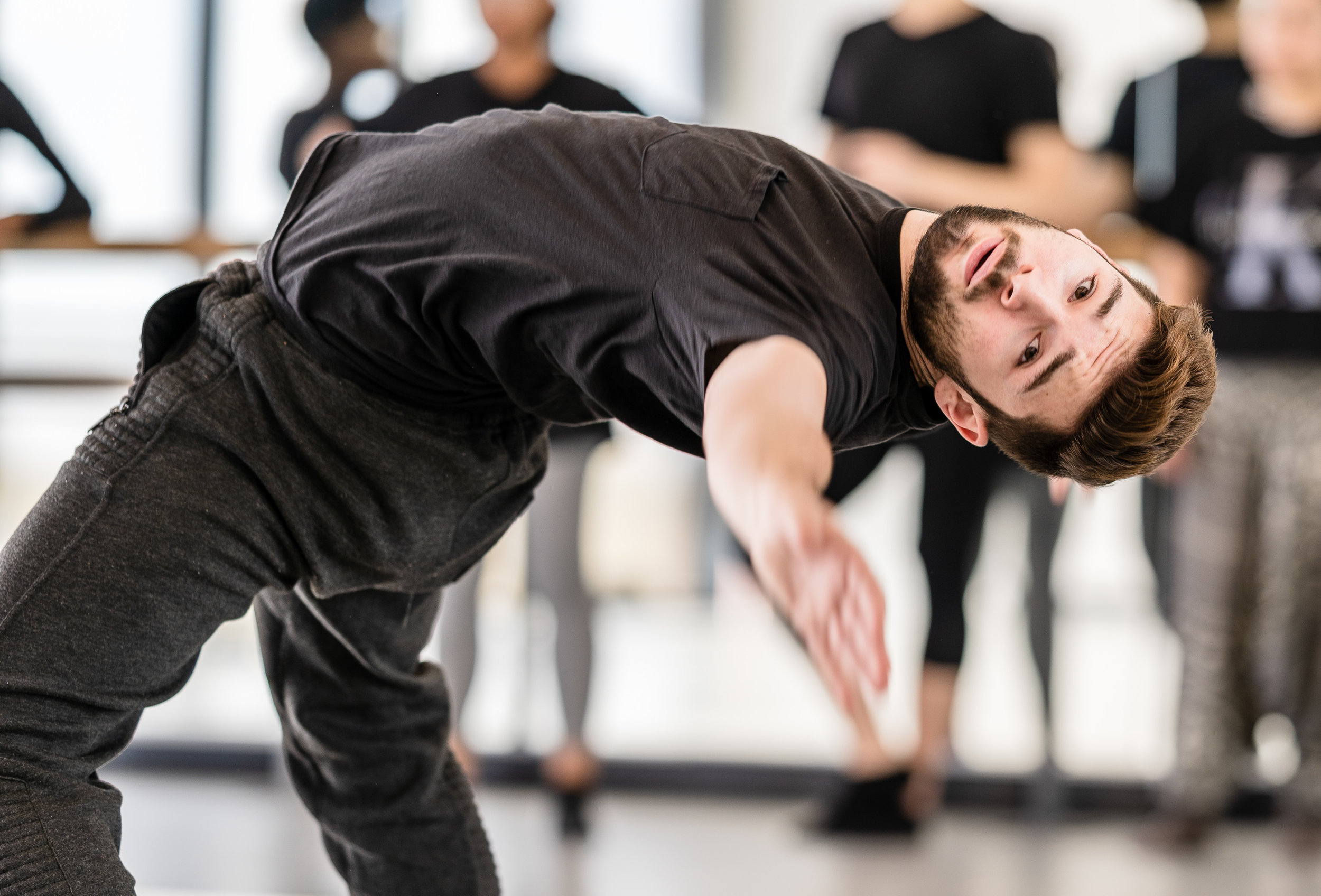 SMC dancer Christopher DePiazza works with Aya Nakaguchi's choreography in a rehearsal for Nakaguchi's new, not-yet-titled work for Synapse Dance Theater in the Core Performance Center (CPC) on Tuesday, March 12, 2019. Synapse Dance Theater will be presented on Friday and Saturday, May 24 and 25, on the SMC Broad Stage at the Performing Arts Complex (PAC) (Glenn Zucman/The Corsair)