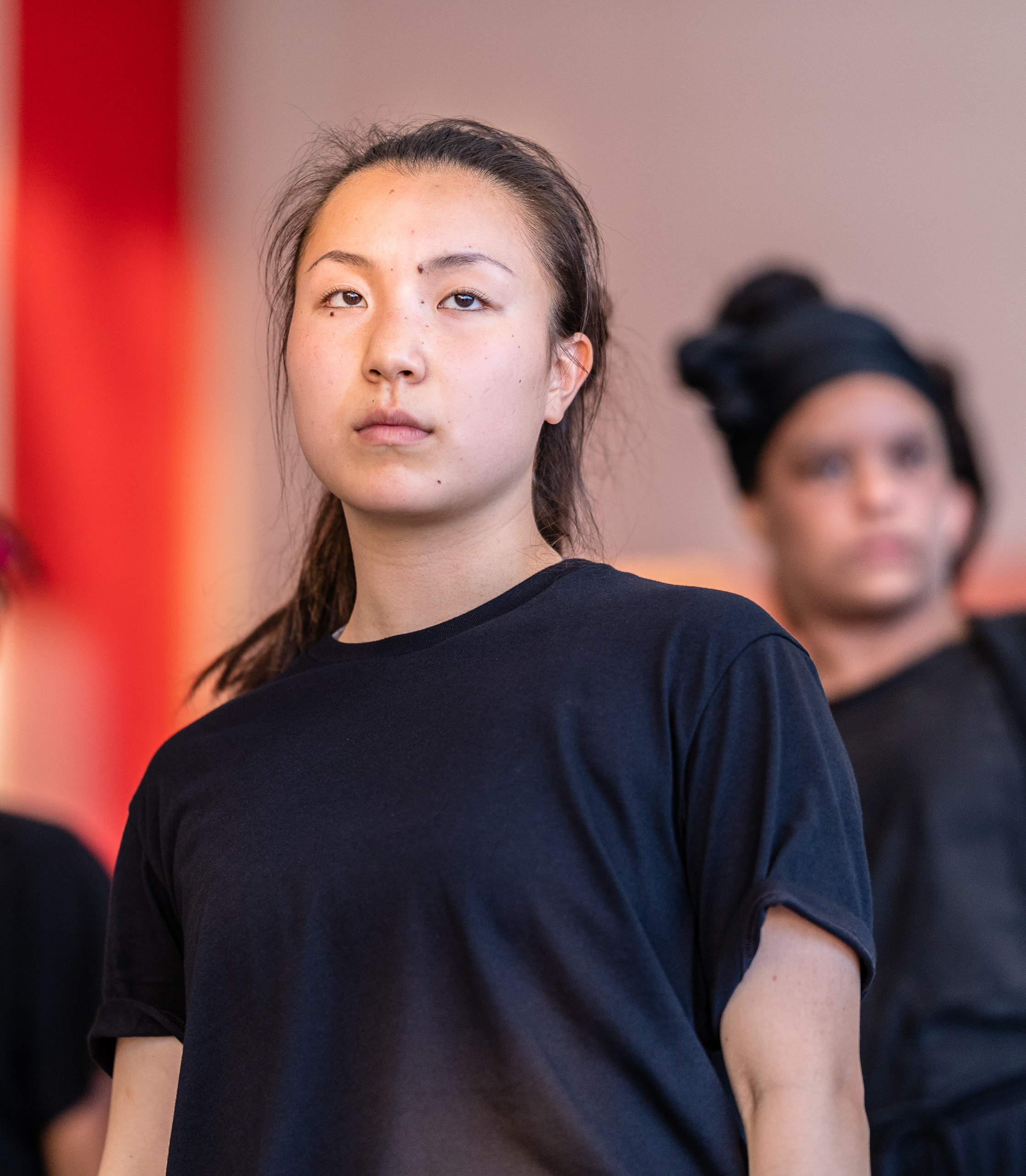"SMC dance major Aya Nakaguchi rehearses for ""equalizer_"", a new work by guest choreographer Jay Carlon in SMC's Core Performance Center (CPC) on Tuesday, April 2, 2019. ""equalizer_"" and Nakaguchi's not-yet-titled new work are two of the eleven works that will be presented in Synapse Dance Theater on the SMC Broad Stage at the Performing Arts Center (PAC) on Friday and Saturday, May 24 and 25. (Glenn Zucman/The Corsair)"
