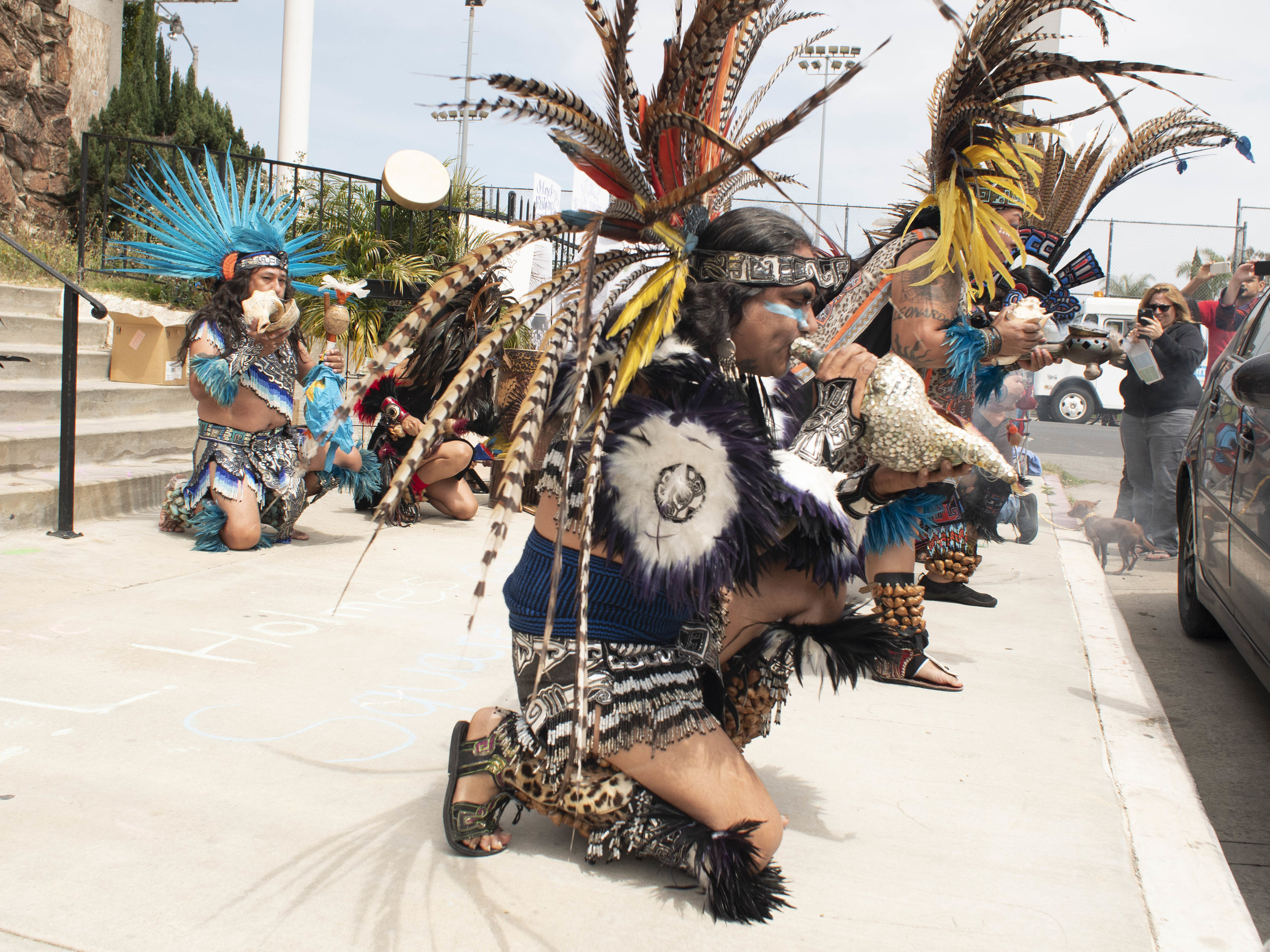 The Aztec Dance Group, Xipe-Totec opens a dance ceremony with incense and prayer at the First Baptist Church of Venice during a community rally for the church. Jay Penske owner of Variety and Rolling Stone Magazines purchased the church with plans that include a roof top deck, in an attempt to convert it into a single residence mega-mansion for he and his wife Elaine Irwin, former Victoria Secret model, and former wife of John Cougar Mellencamp. Sunday, April 14, 2019, Los Angeles, California (Victor Noerdlinger/Corsair)