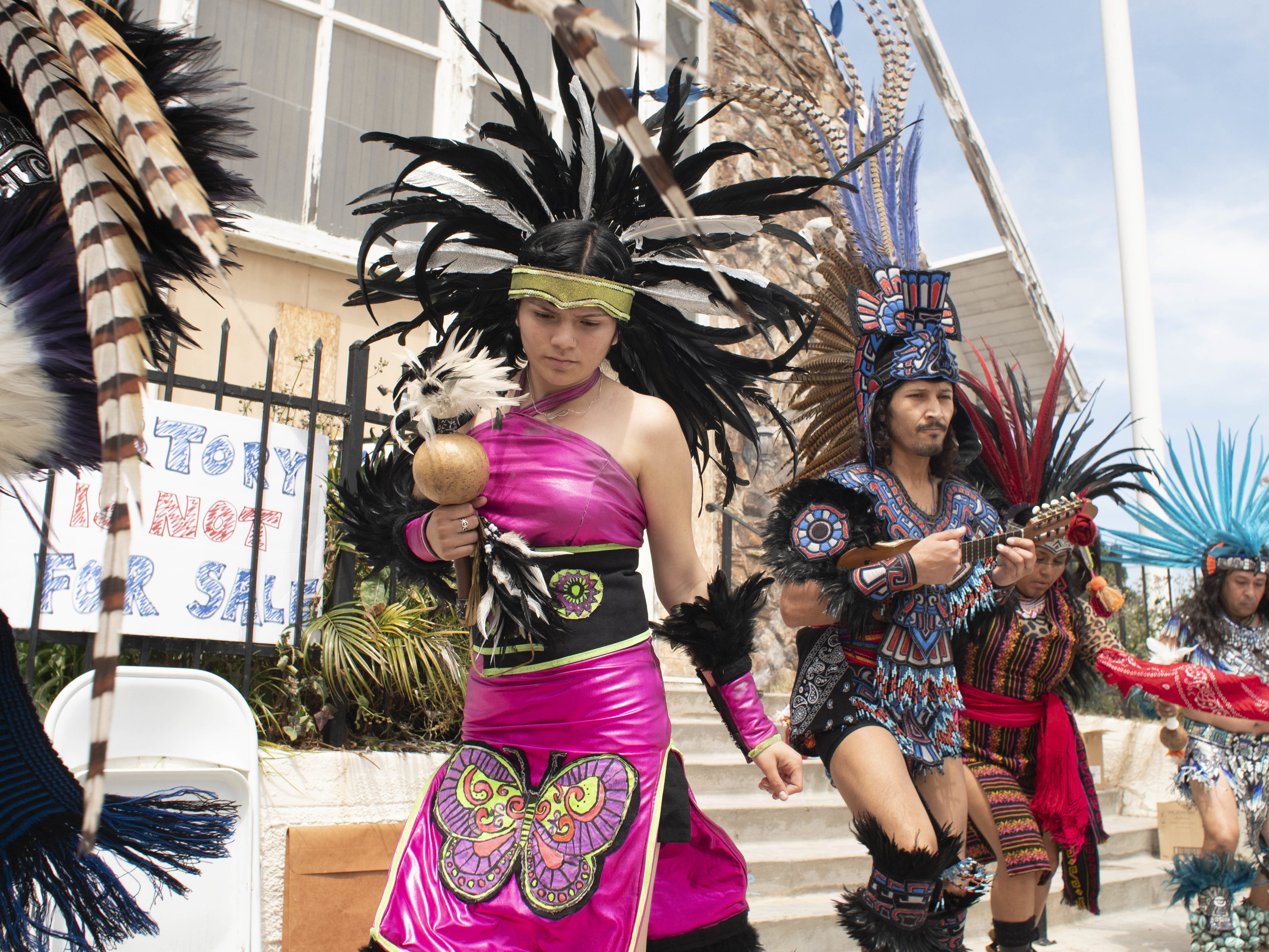 Members of the Aztec Dance Group, Xipe-Totec, prepare to perform ceremonial dance at the First Baptist Church of Venice during a community rally for the church. Jay Penske owner of Variety and Rolling Stone Magazines purchased the church with plans that include a roof top deck, in an attempt to convert it into a single residence mega-mansion for he and his wife Elaine Irwin, former Victoria Secret model, and former wife of John Cougar Mellencamp. Sunday, April 14, 2019, Los Angeles, California (Victor Noerdlinger/Corsair