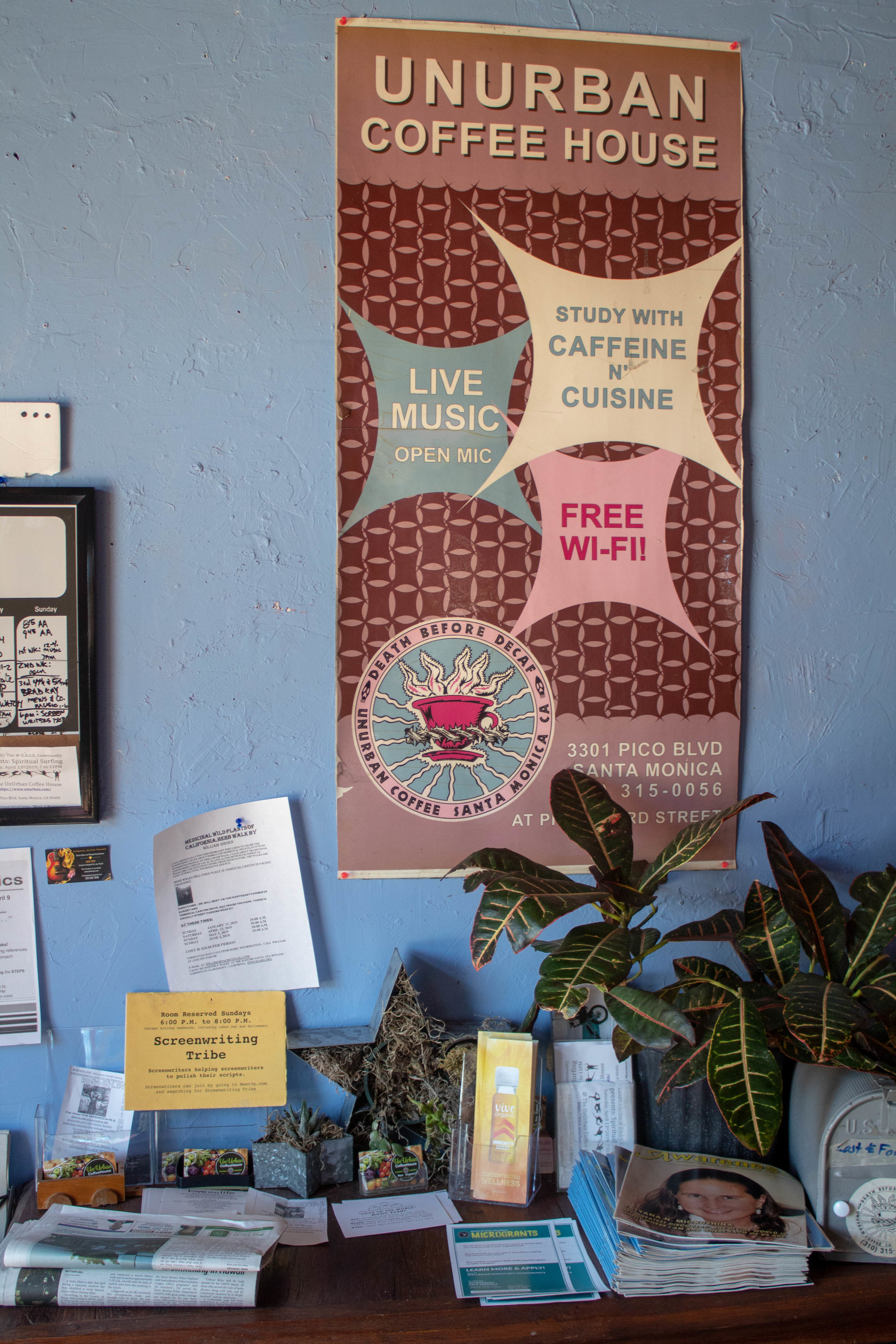 Posters adorn the walls of UnUrban Coffee House for a myriad of community events and causes, giving the vibe of a true community space. April 18, 2019 in Santa Monica, California. Danica Creahan / The Corsair