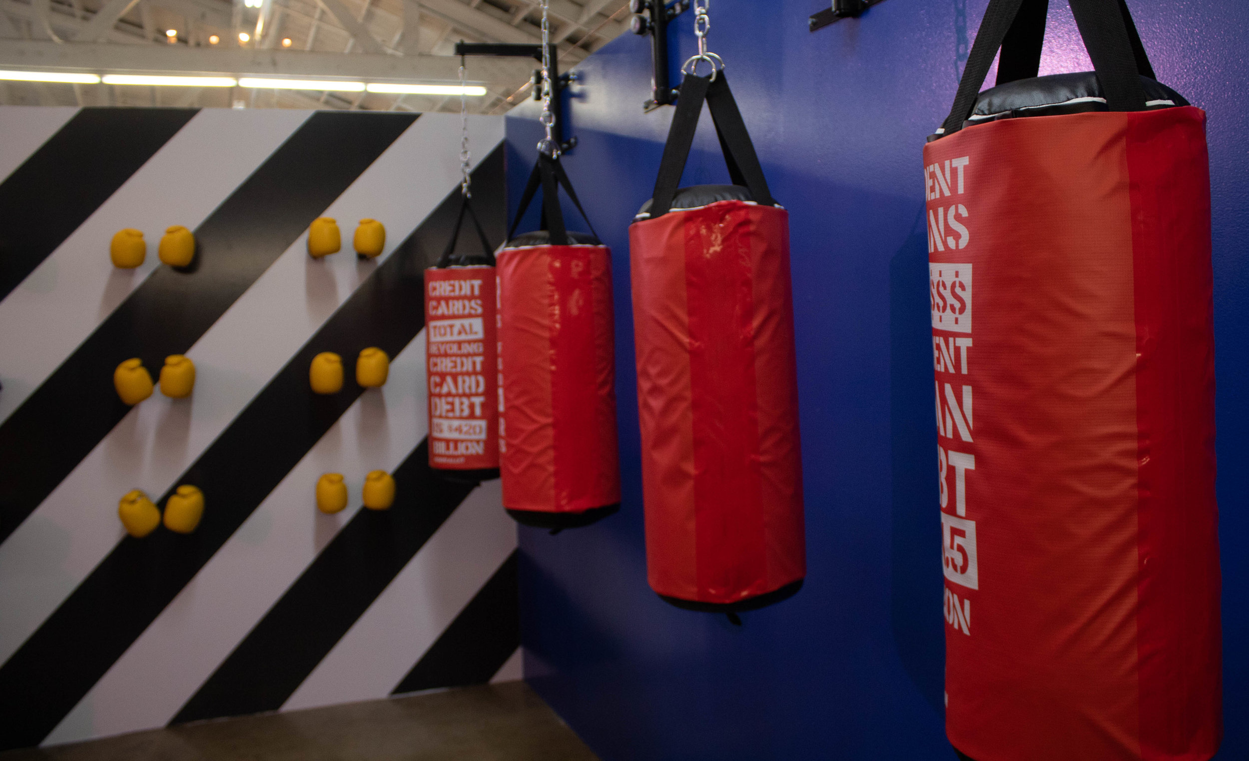 "Stacks House's ""Debt Boxing Gym,"" the opening photo-op room in the new walk-through pop up experience. Stacks House teaches on subjects such as financial literacy through rooms like this one. April 16, 2019, Los Angeles, California. Danica Creahan / The Corsair"