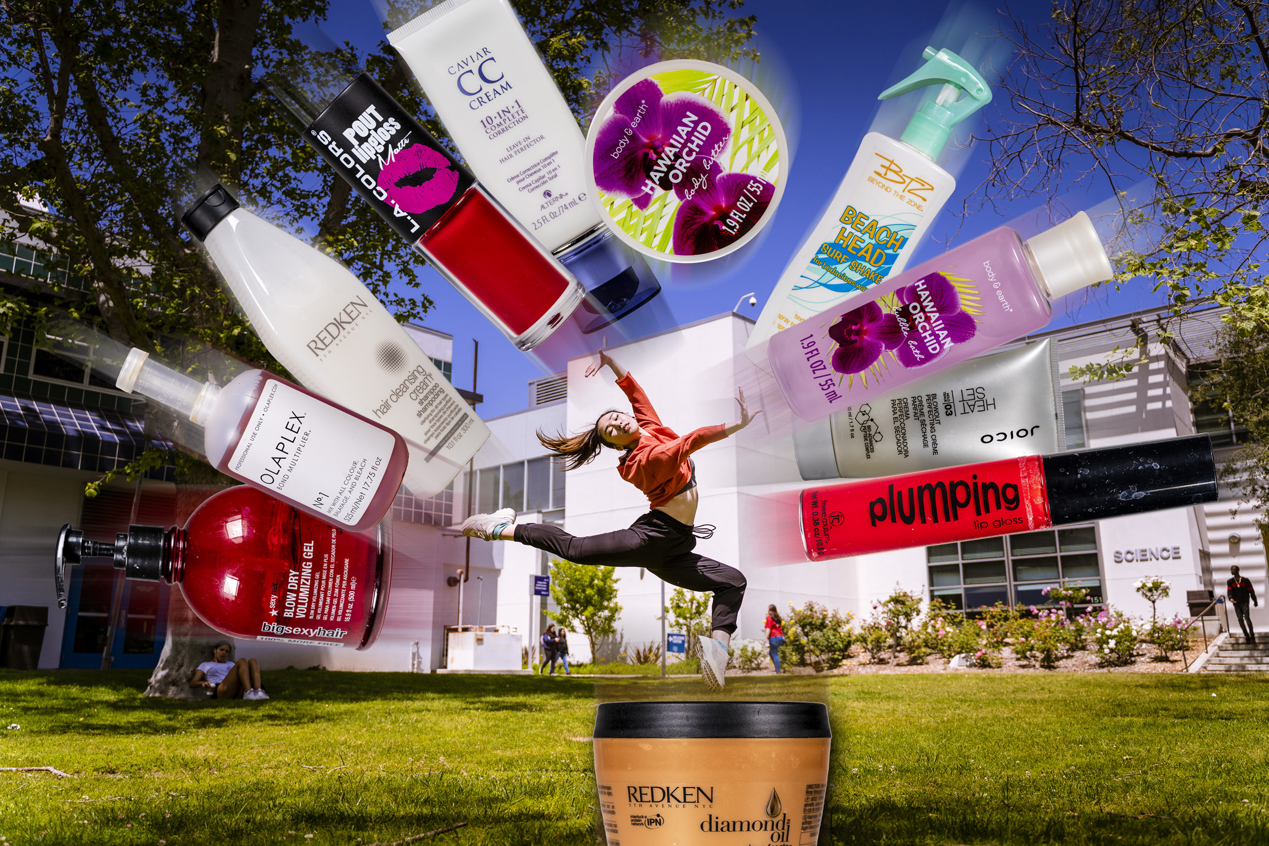 SMC Dance major Marii Kawabata attempts to shield herself from the onslaught of beauty industry plastic pollution. (Photo illustration/Glenn Zucman/The Corsair)