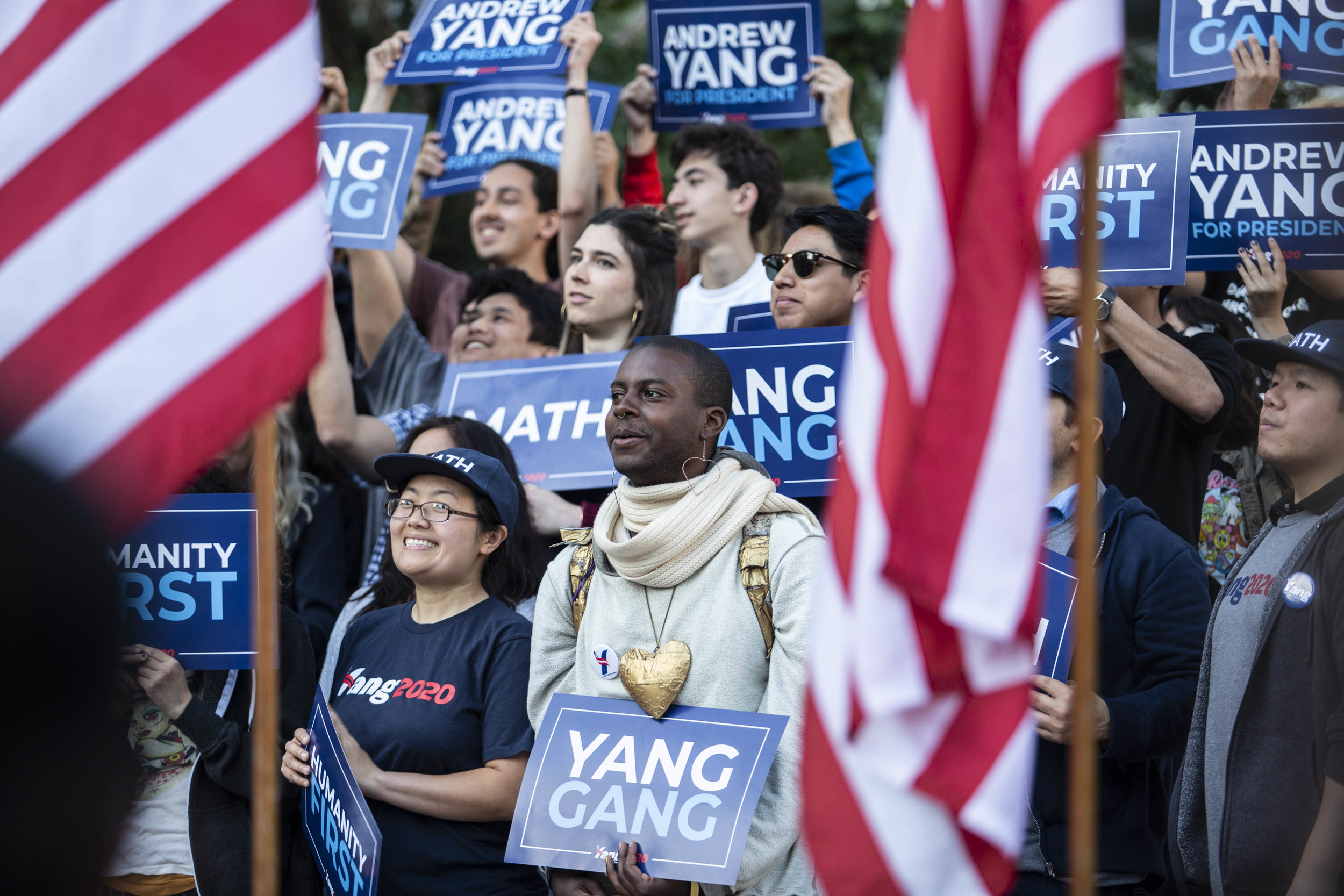 2020 Presidential Candidate Andrew Yang supporters holding signs during the Humanity First Tour in Los Angeles on Monday, April 22, 2019 at Pershing Square Park in Los Angeles, Calif. (Yasamin Jafari-Tehrani/ The Corsair)