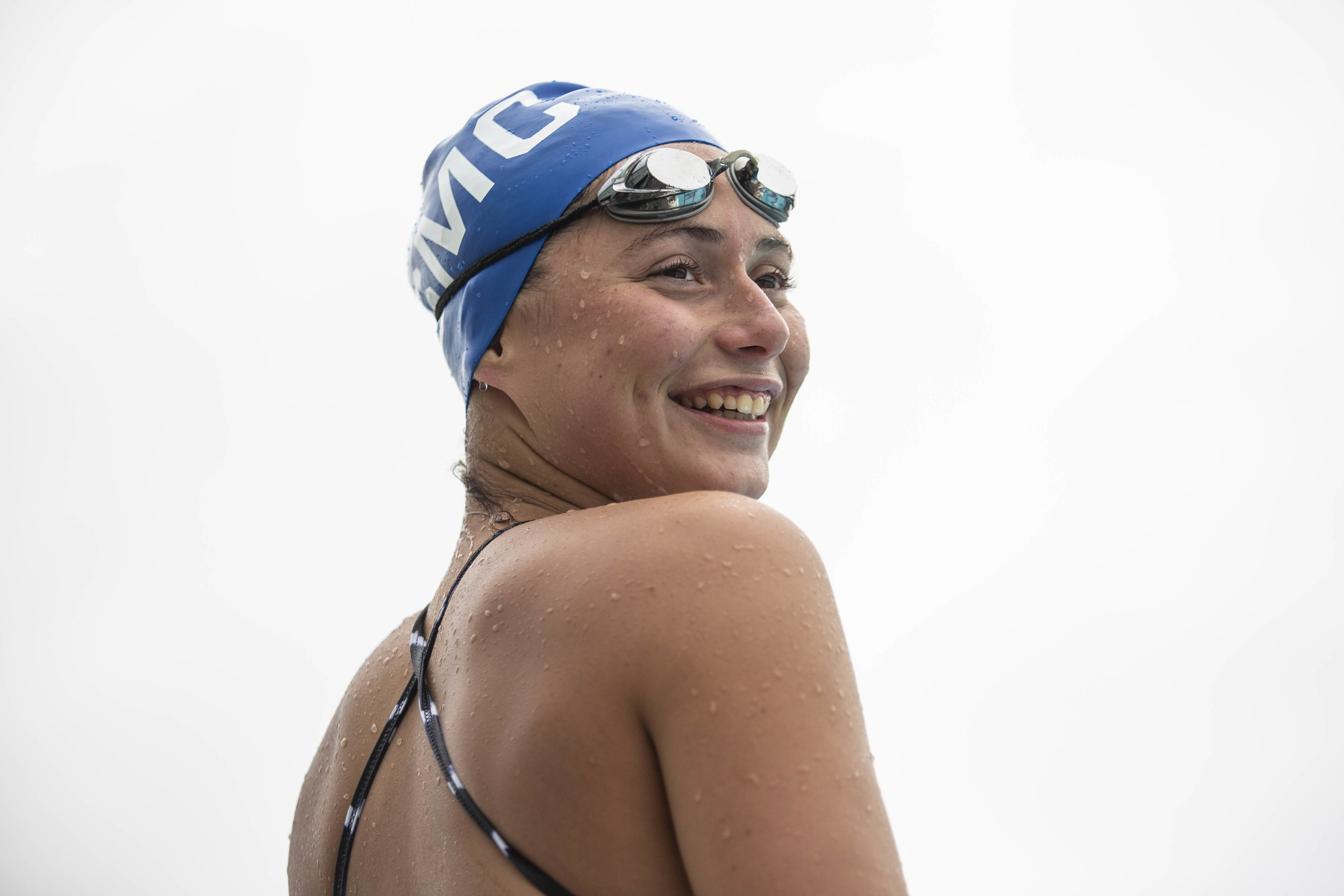 Sana Shoket from Santa Monica College (SMC) swimming team, practicing for State Championship in San Jose. Santa Monica College on April 29, 2019, Santa Monica, Calif. (Yasamin Jtehrani / The Corsair)