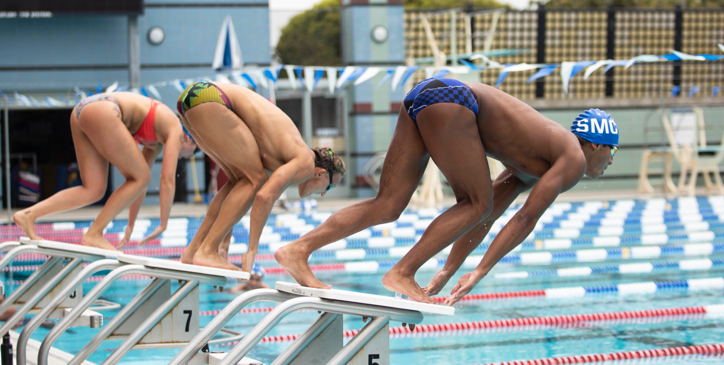 Santa Monica College swim team (SMC) swimming team, practicing for State Championship in San Jose. Santa Monica College on April 29, 2019, Santa Monica, Calif. (Yasamin Jtehrani / The Corsair)