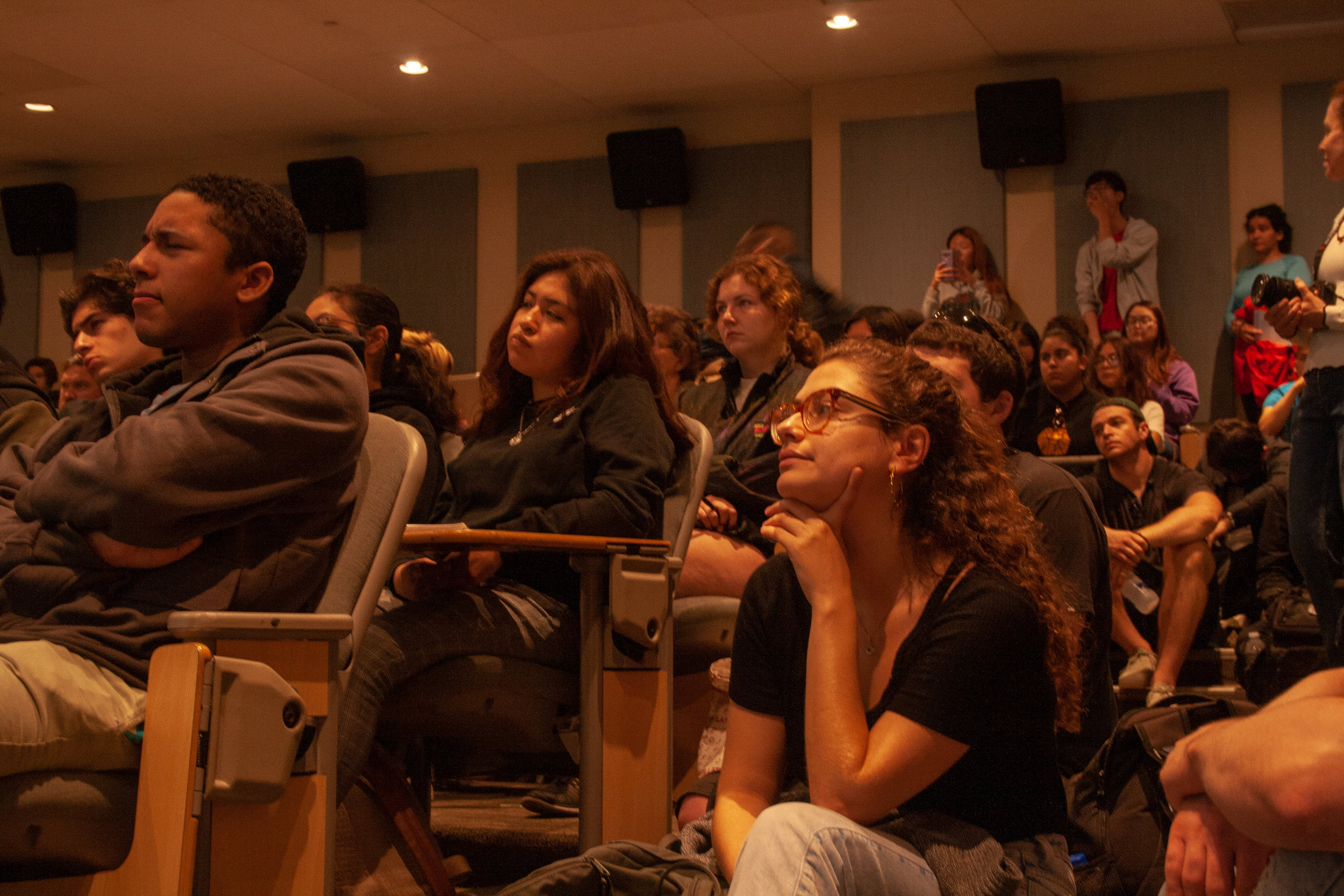 """Santa Monica College students listen to guest speaker Jon Rynn's lecture """"How the New Green Deal Should Look Like"""". This lecture took place at main campus Santa Monica College during environmental week, April 23, 2019. Santa Monica, Calif. (The Corsair/ Janet Ali)"""