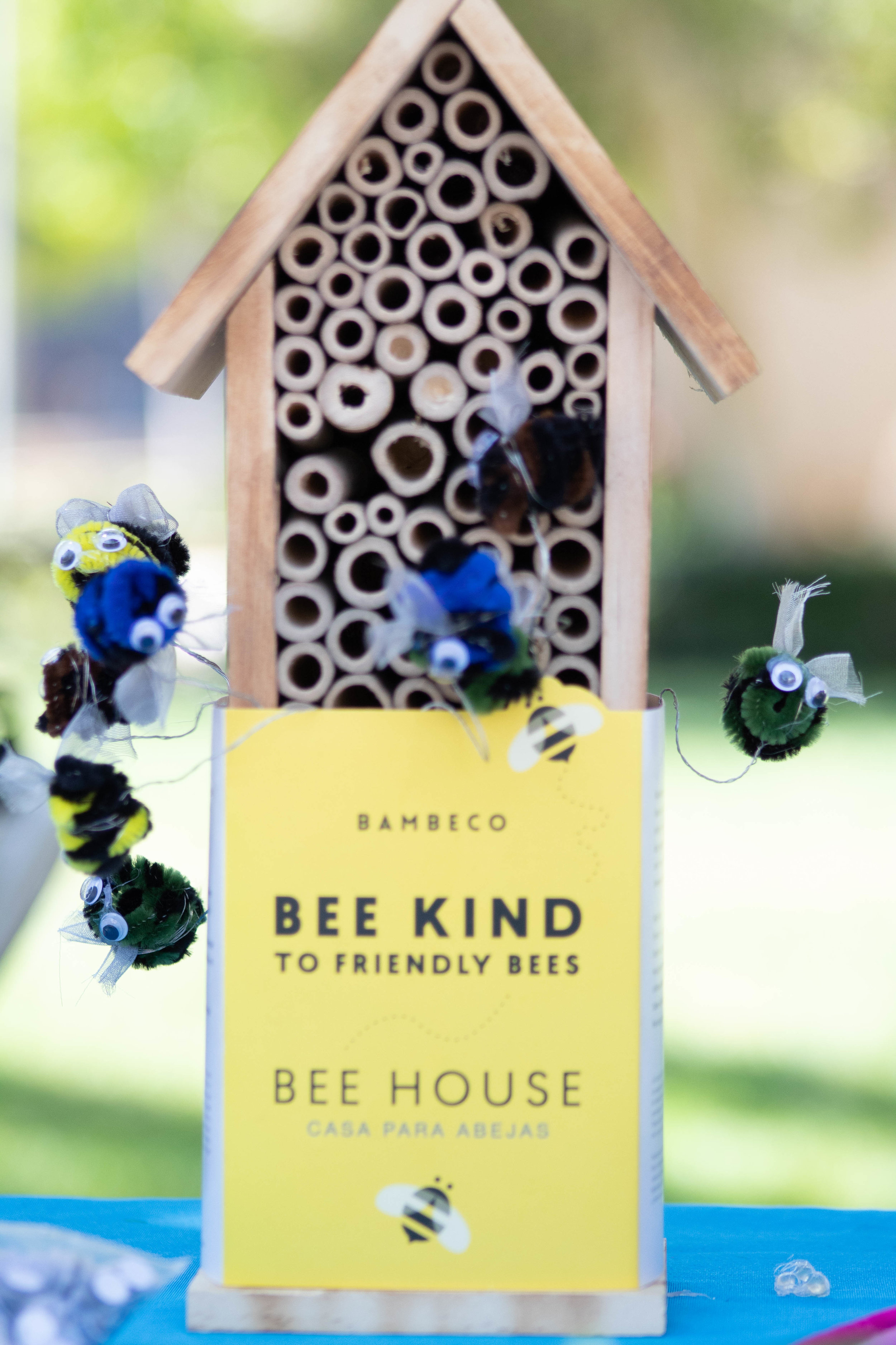 A Bee Box created by the Santa Monica College Natural History Club during Earth Week Interactive Learning Day on Wednesday, April 24, 2019 at the SMC main campus quad in Santa Monica, California. (Catherine Lima/Corsair Staff)