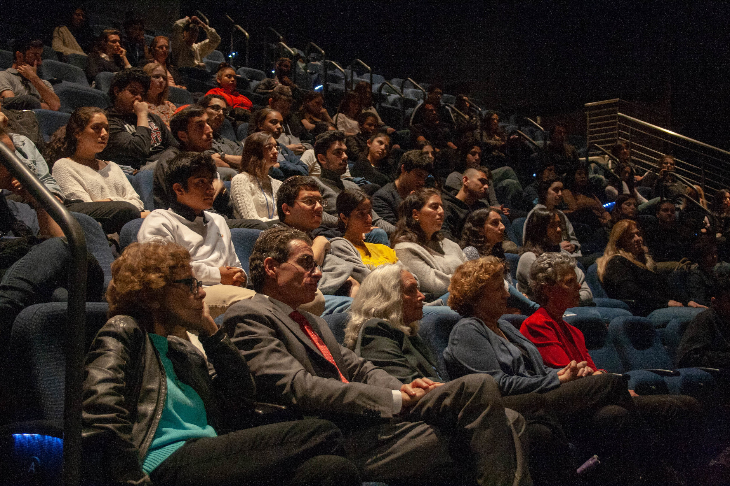 "The crowd was quiet, not a sound was made as they listened to Mary Bauer talk about her experience in a concentration camp, during WW2. The event ""Holocaust Remembrance Day"" was held in Main Campus Santa Monica College in the Theater and Arts building on May 2, 2019. (The Corsair/ Janet Ali)"