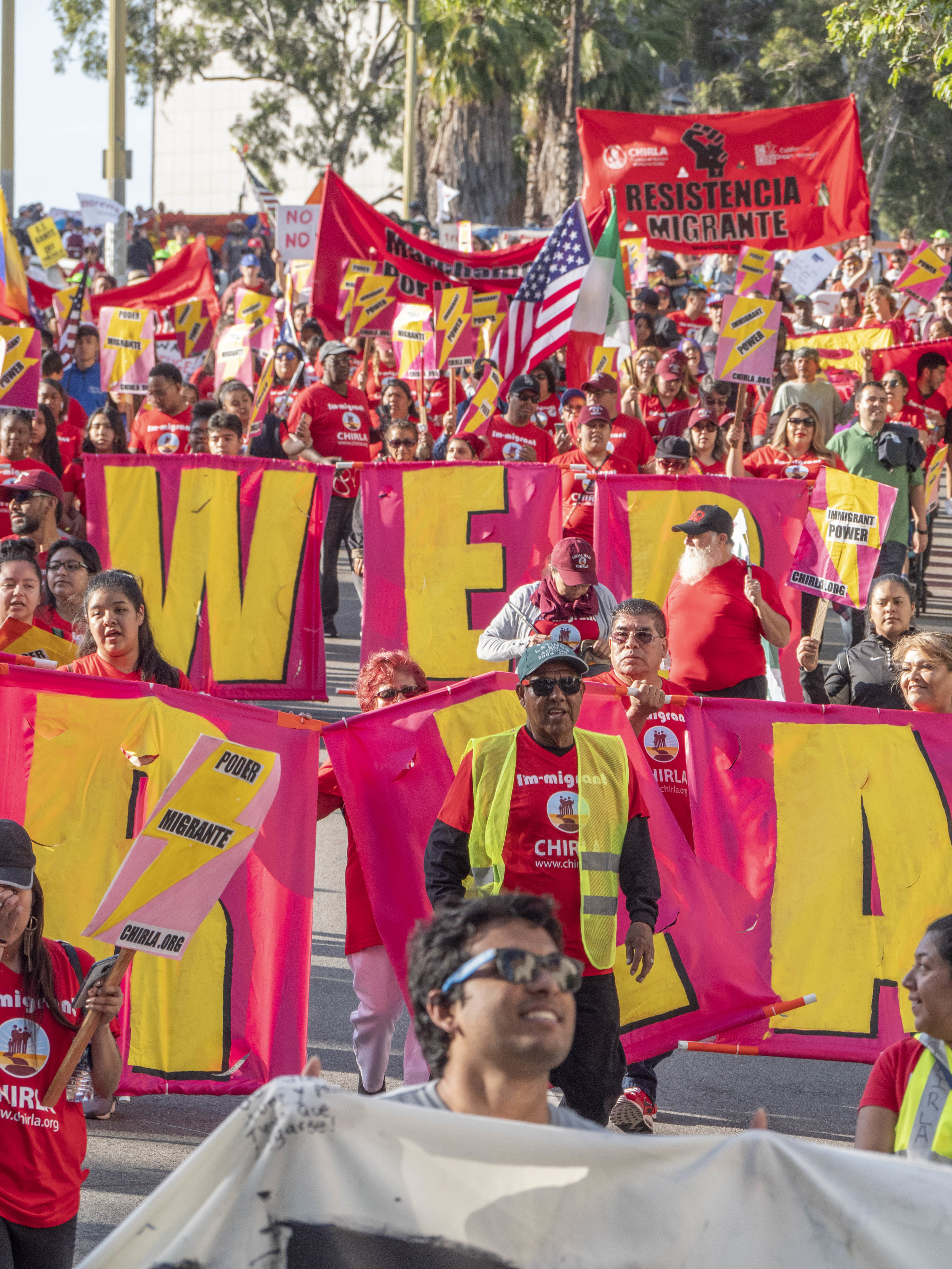 Marchers at the May Day March from MacArthur Park to City Hall on Wednesday, May 1, 2019, Los Angeles California. (Victor Noerdlinger/Corsair)