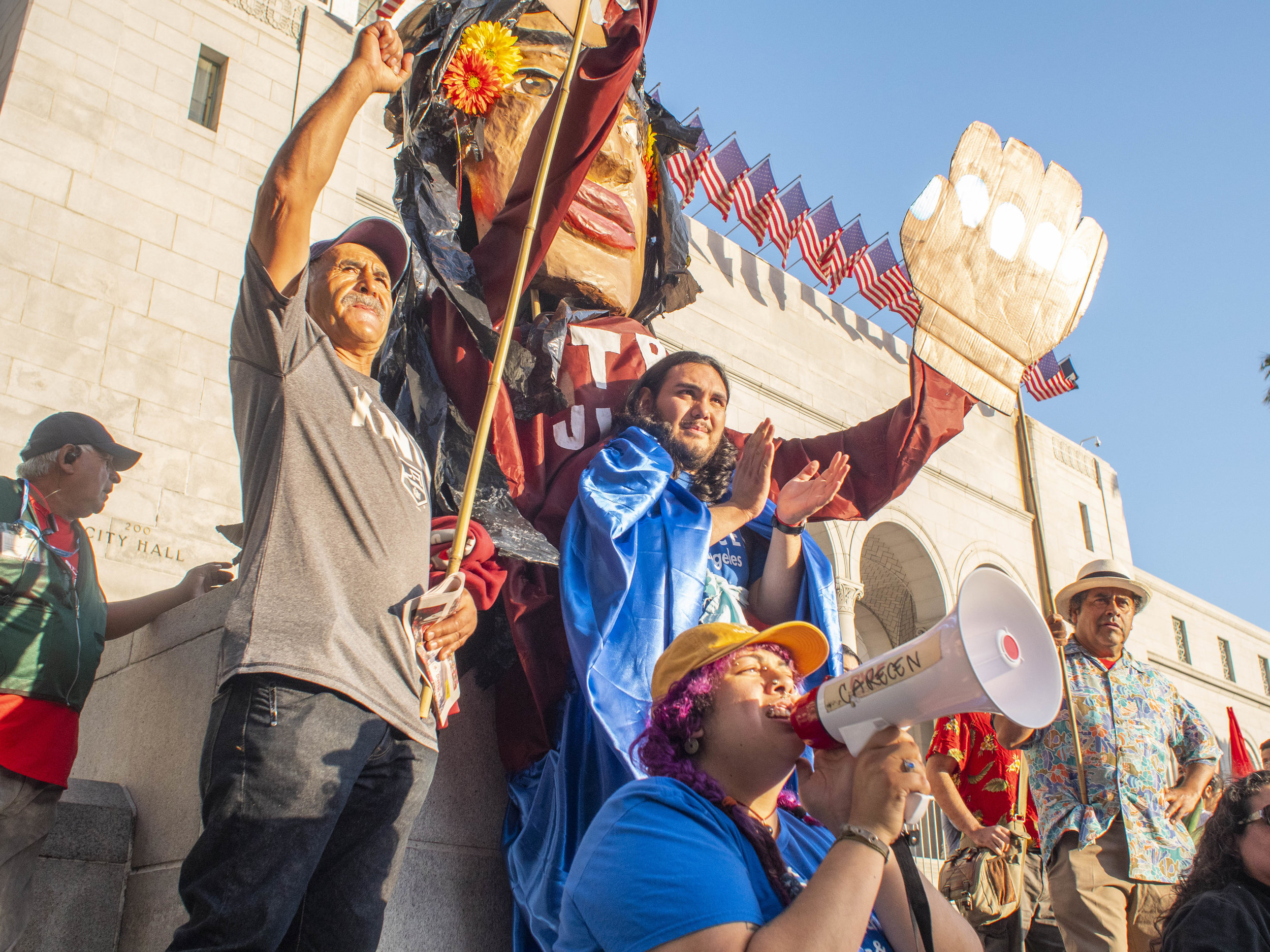 Marchers chant during the May Day March from MacArthur Park to City Hall on Wednesday, May 1, 2019, Los Angeles California. (Victor Noerdlinger/Corsair)