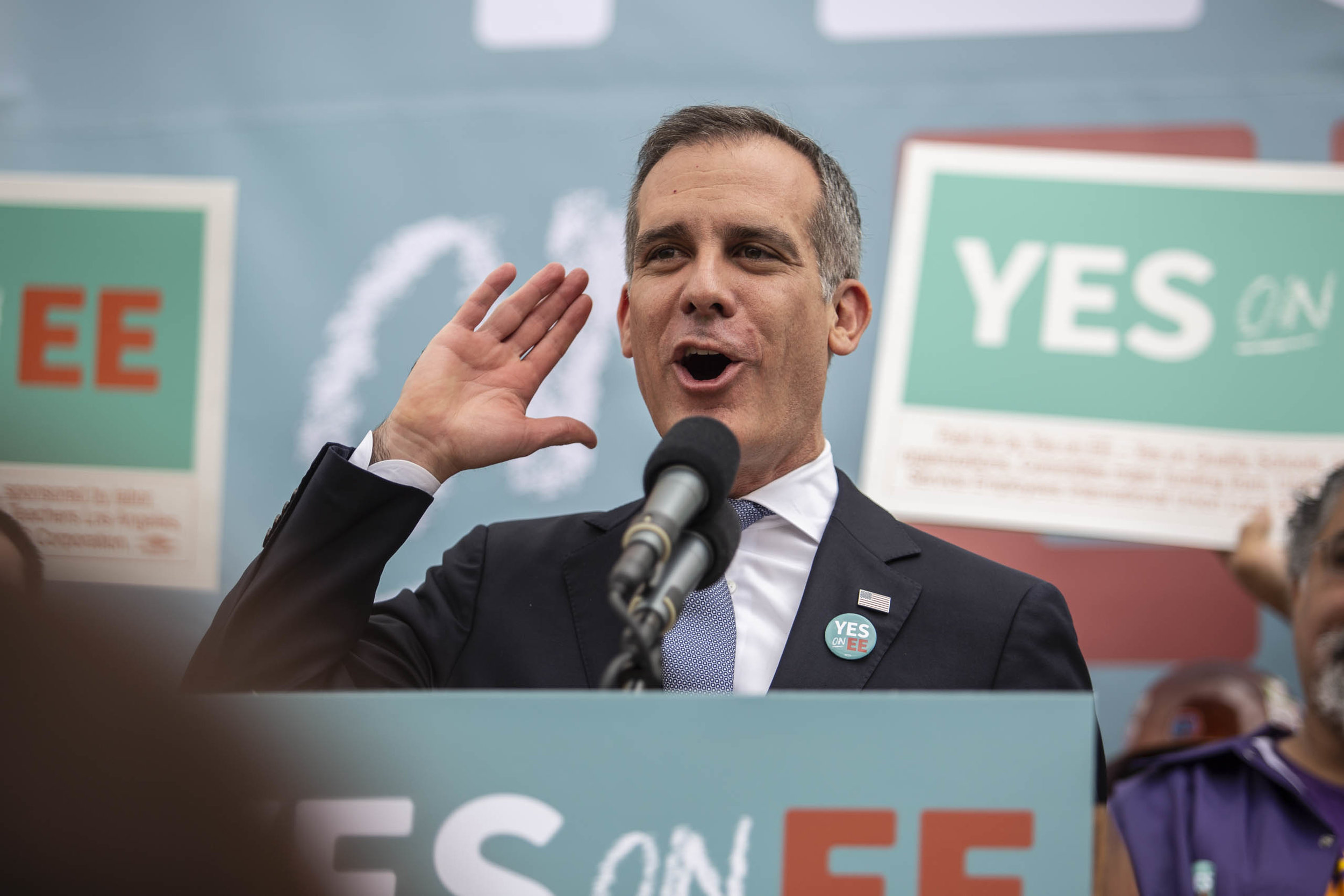 Los Angeles Mayor, Eric Garcetti, during the rally in support of Mayor Pete Buttigieg for his 2020 presidential campaign and Measure EE, which would raise $500 million for the Los Angeles Unified School District on Thursday, May 9, 2019 in Los Angeles, Calif. (Yasamin Jtehrani / The Corsair)